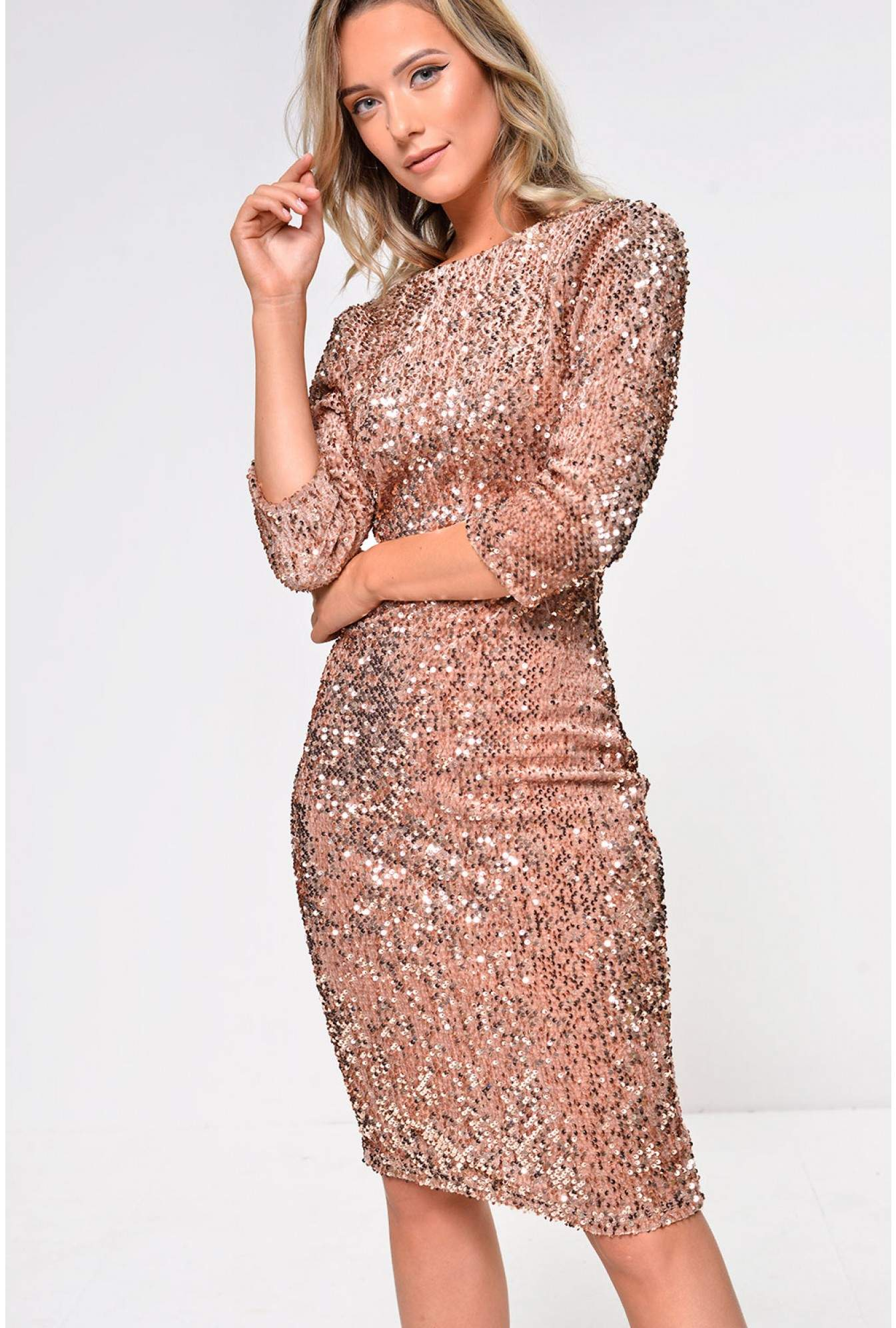 7965dbc66750 Marc Angelo Patsy Sequin Bodycon Dress with Open Back in Gold Sequin ...