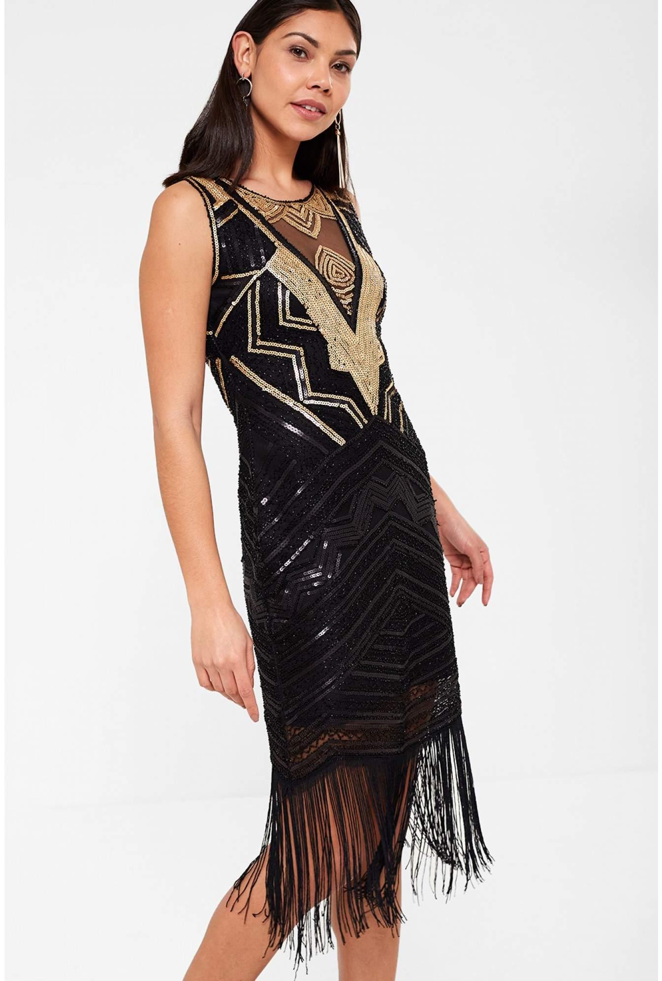 67808a2556e4 Stella Sophia Sequin Dress with Tassle Hem in Black | iCLOTHING