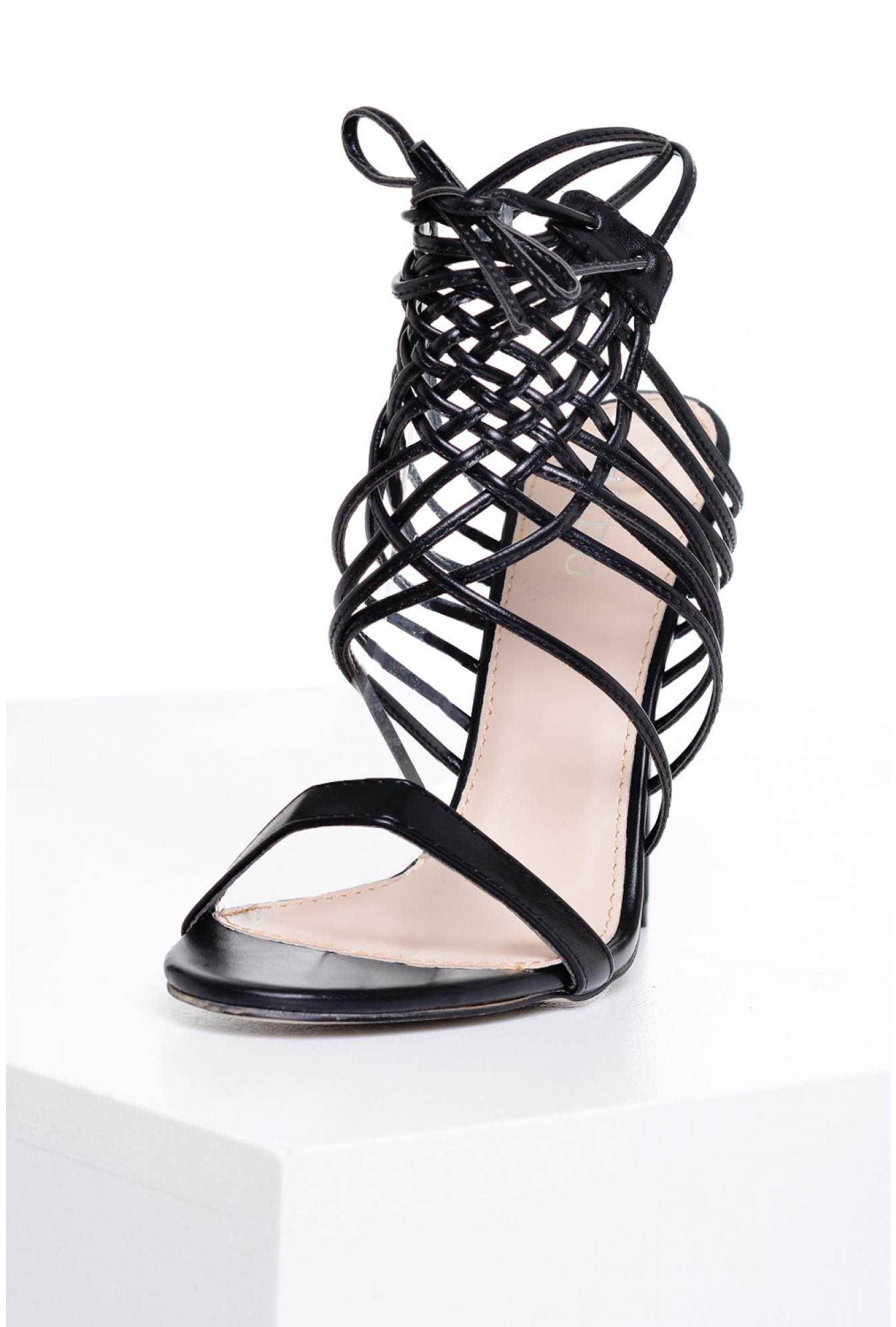 b5a6ac989cc Indigo Footwear Piper Woven Lace Up Hell Sandals in Black
