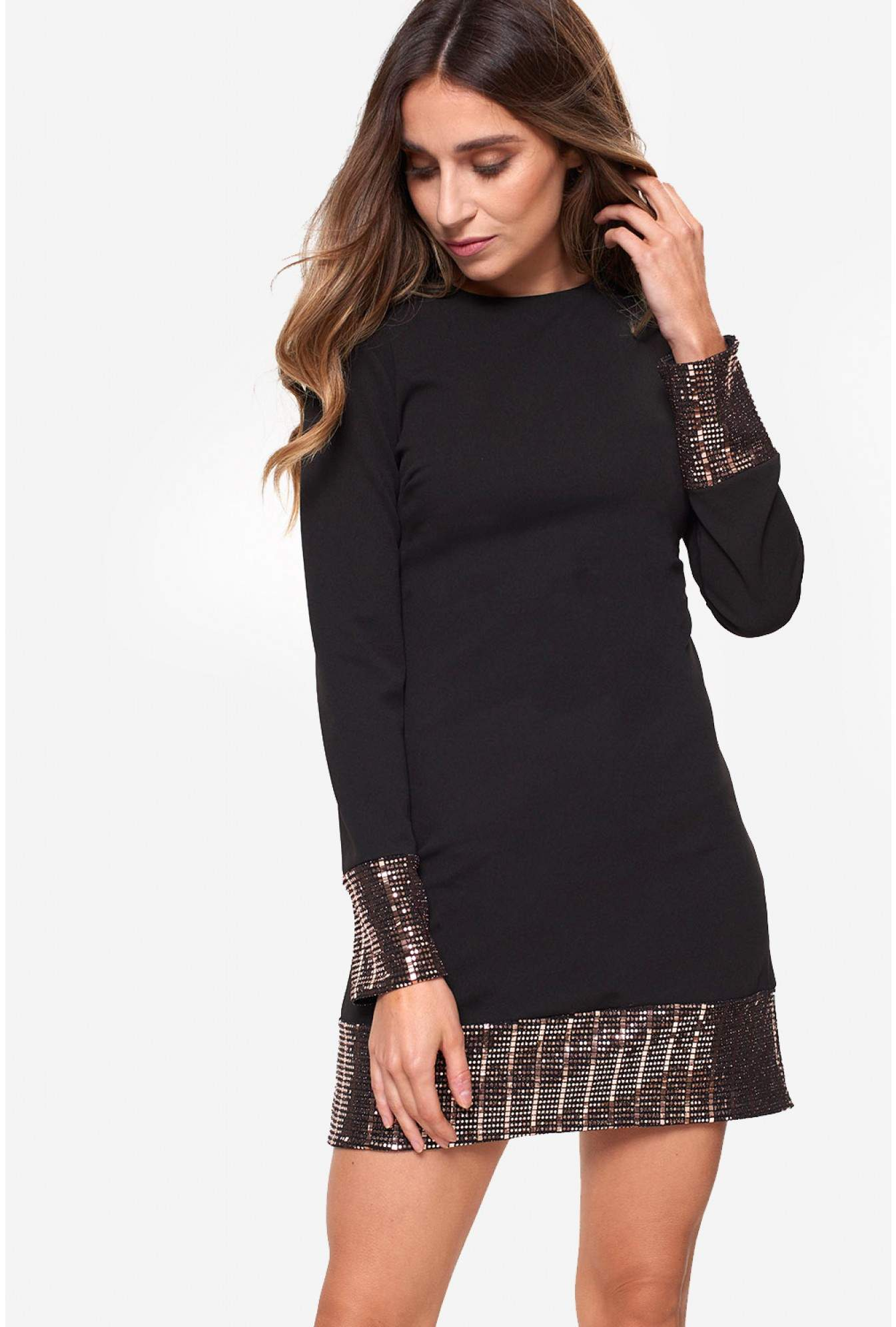 d70e7d2a4073 John Zack Tina Shift Dress with Sequin Detail in Black