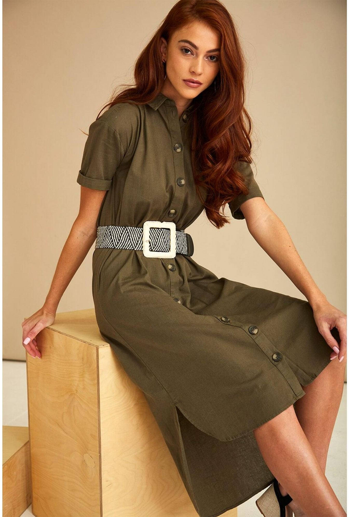 e18d565ed211 More Views. Line Shirt Dress in Dark Olive. Video Gallery. Noisy May