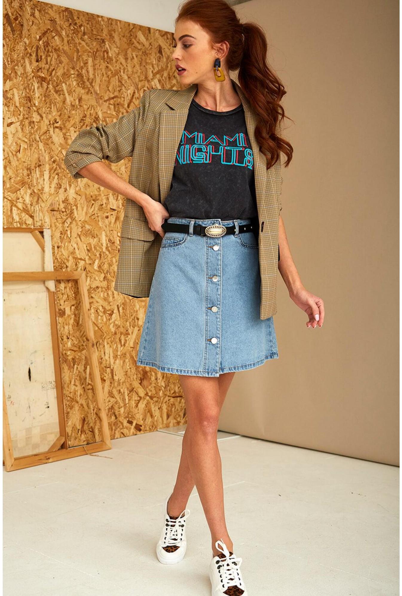 cd14d4727 Noisy May Sunny Short Skirt in Light Blue Denim | iCLOTHING