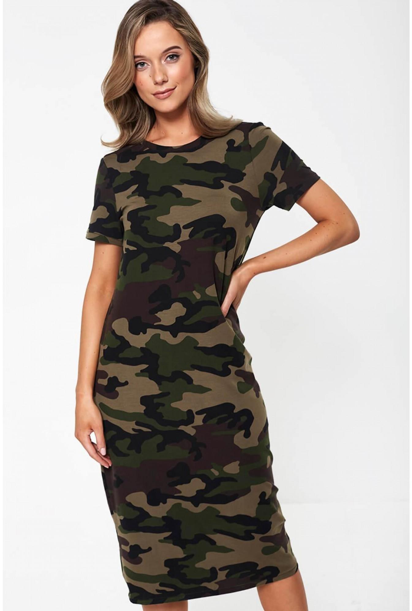 c0ece235 More Views. Gava Short Sleeve Midi Dress in Camouflage Print
