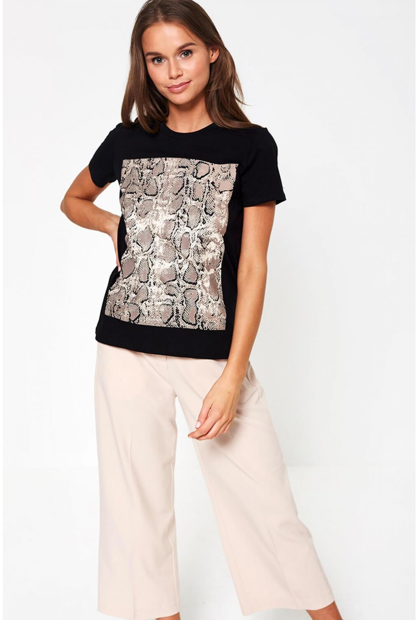054a748e3c6d Only Luna Short Sleeve Snakeskin Print T-shirt in Black | iCLOTHING