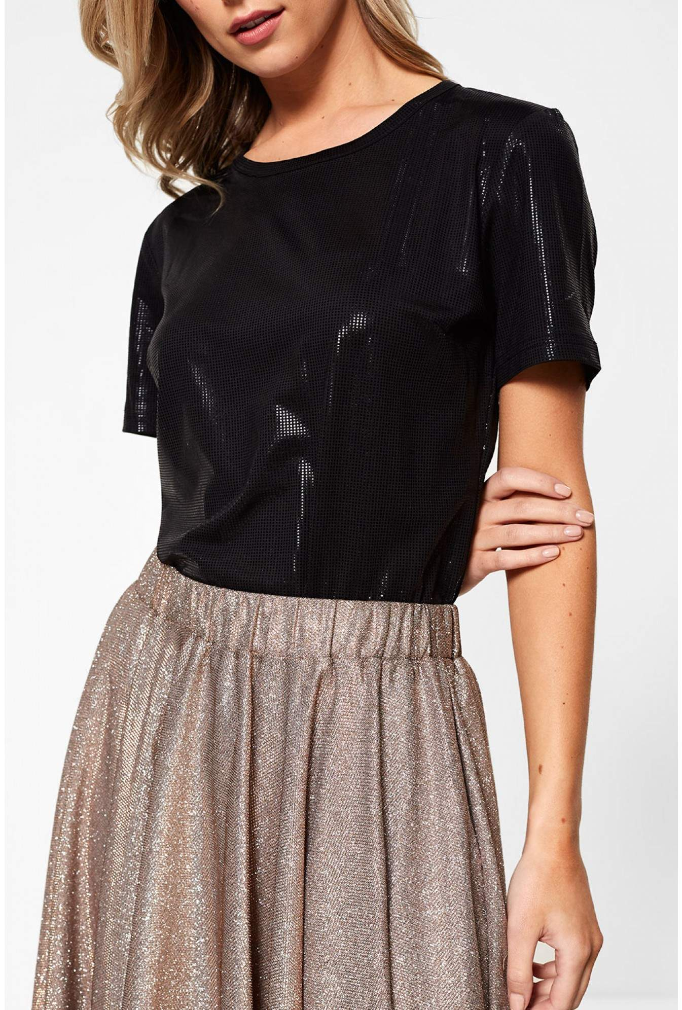 ff84de55cf19 Marc Angelo Lana Short Sleeve Top in Metallic Black | iCLOTHING