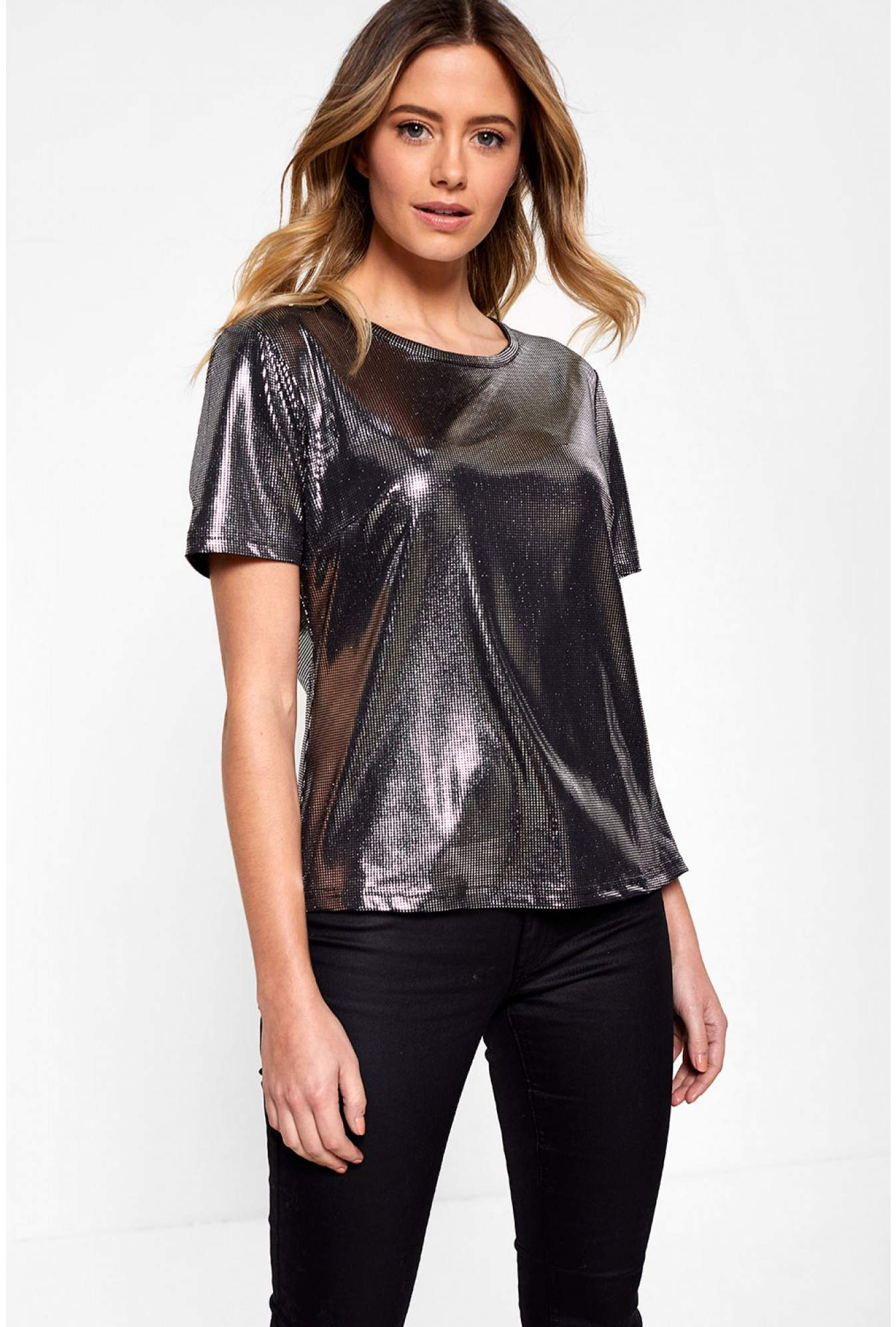 e99ae2ab461d Marc Angelo Lana Short Sleeve Top in Metallic Silver | iCLOTHING