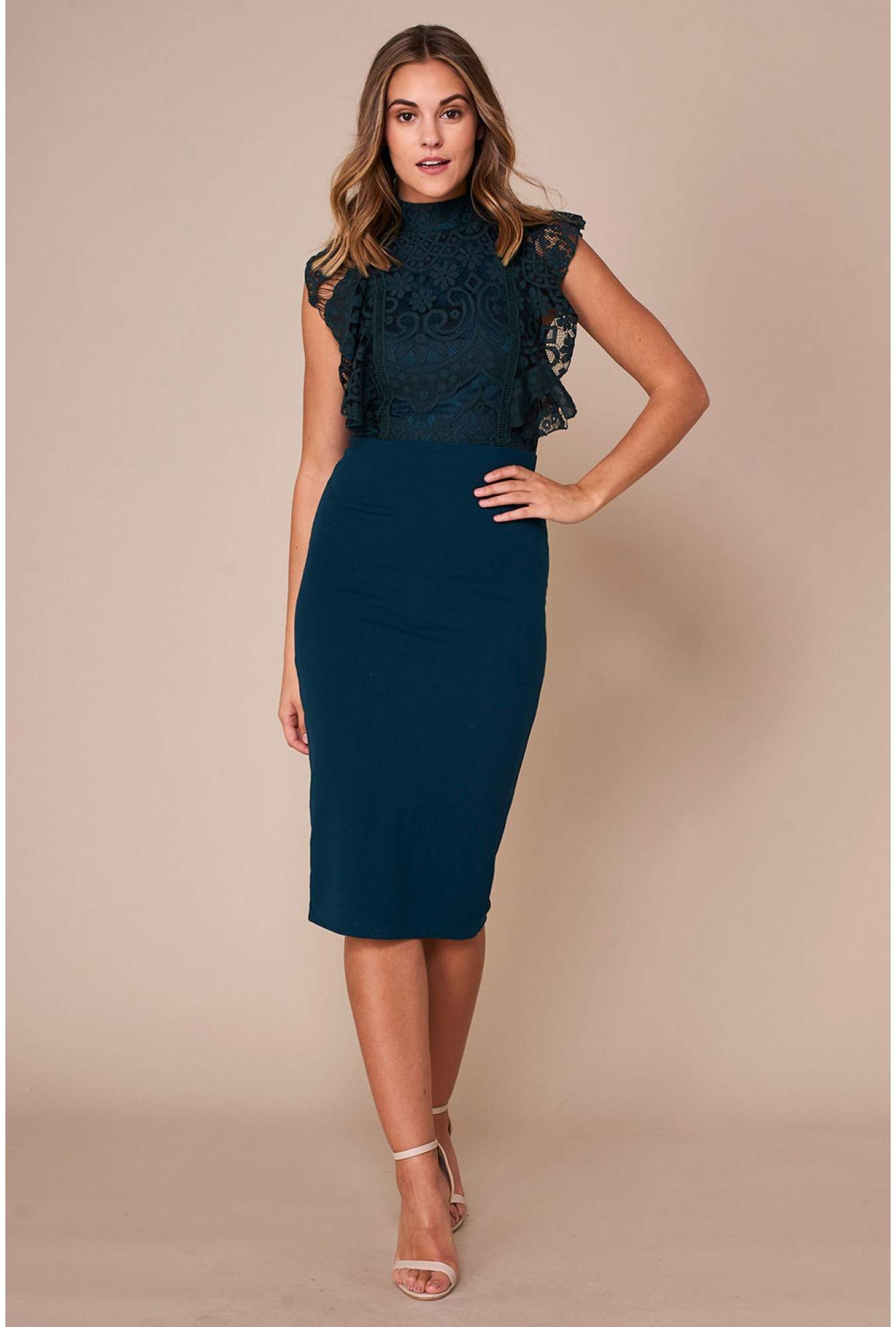 c11ce79d38caf Girl in Mind Kia High Neck Lace Pencil Dress in Emerald Green ...