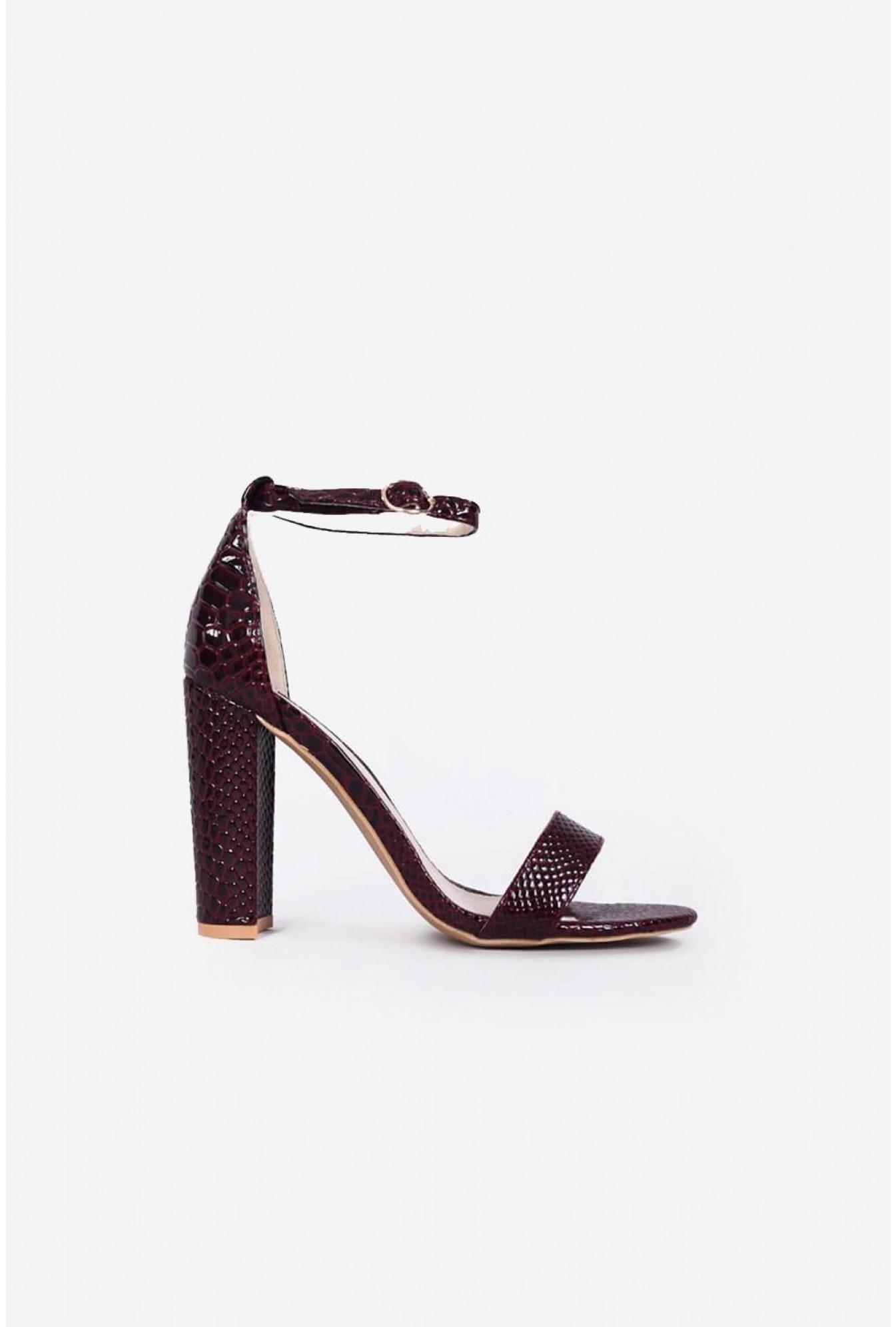 3edb7f1a083 Sitnaya Block Heels in Burgundy Snake