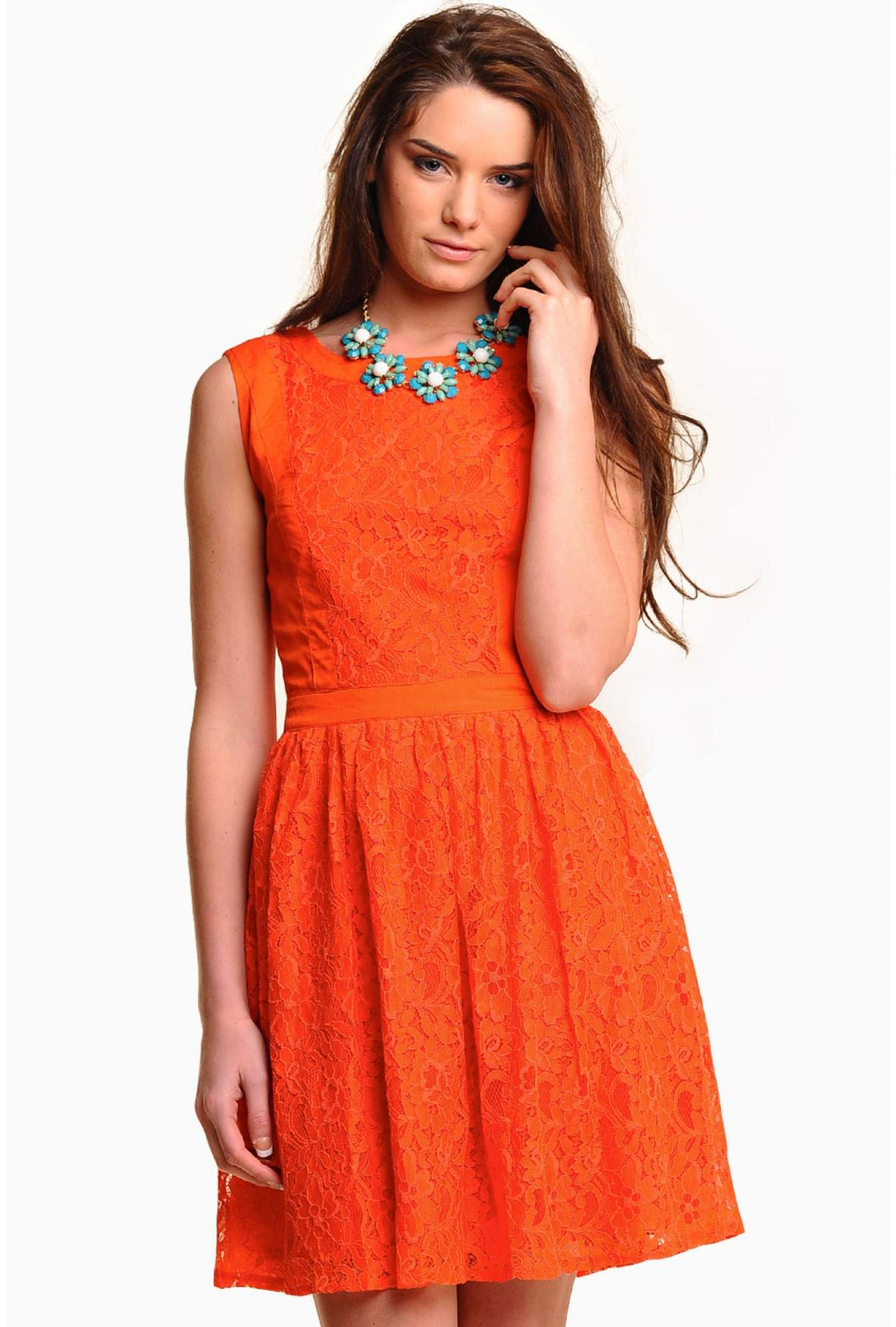 3975f5015c Lindy Lace Panel Skater Dress in Orange