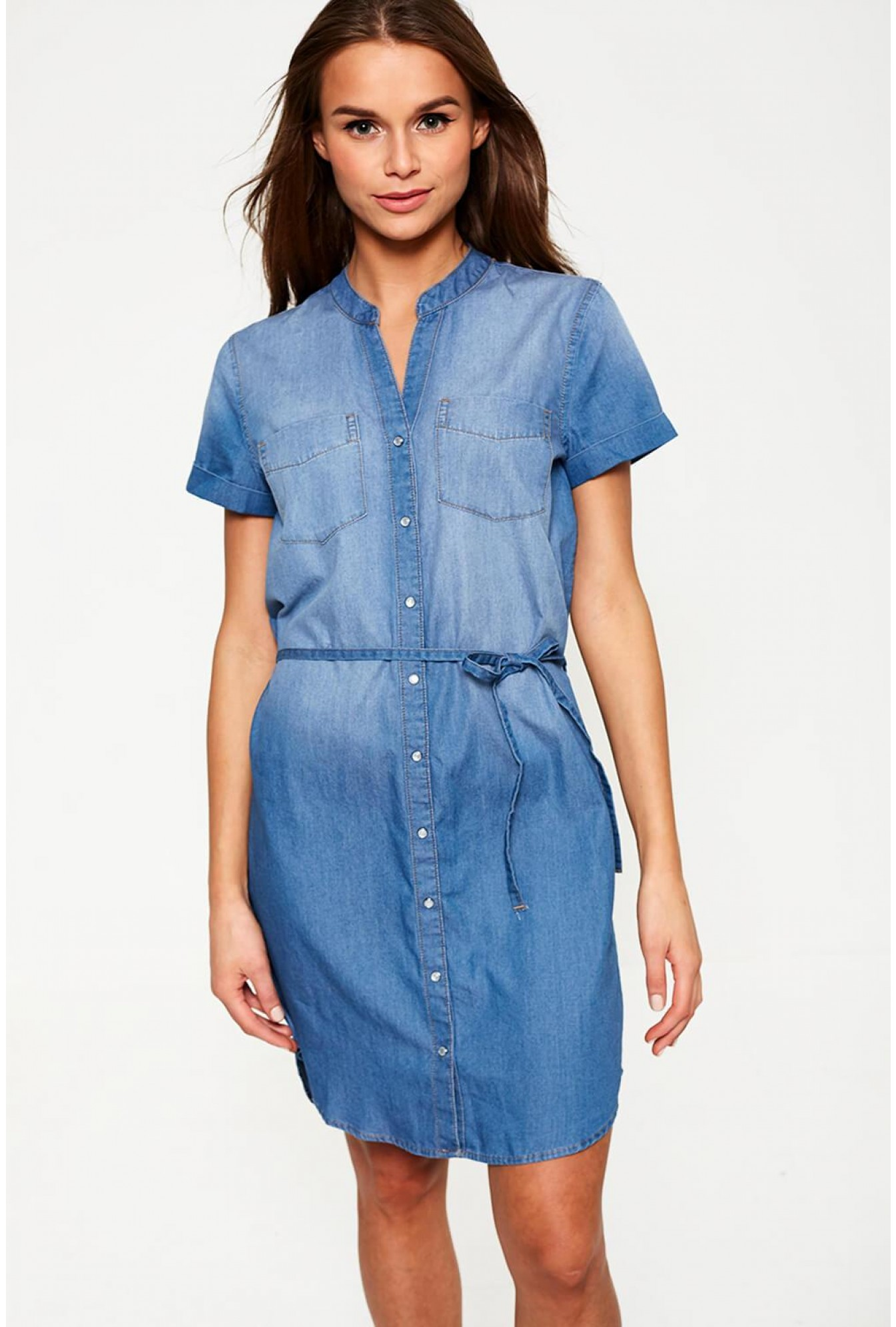 de7fd7754ac Short Sleeve Denim Shirt Dress in Mid Wash Blue
