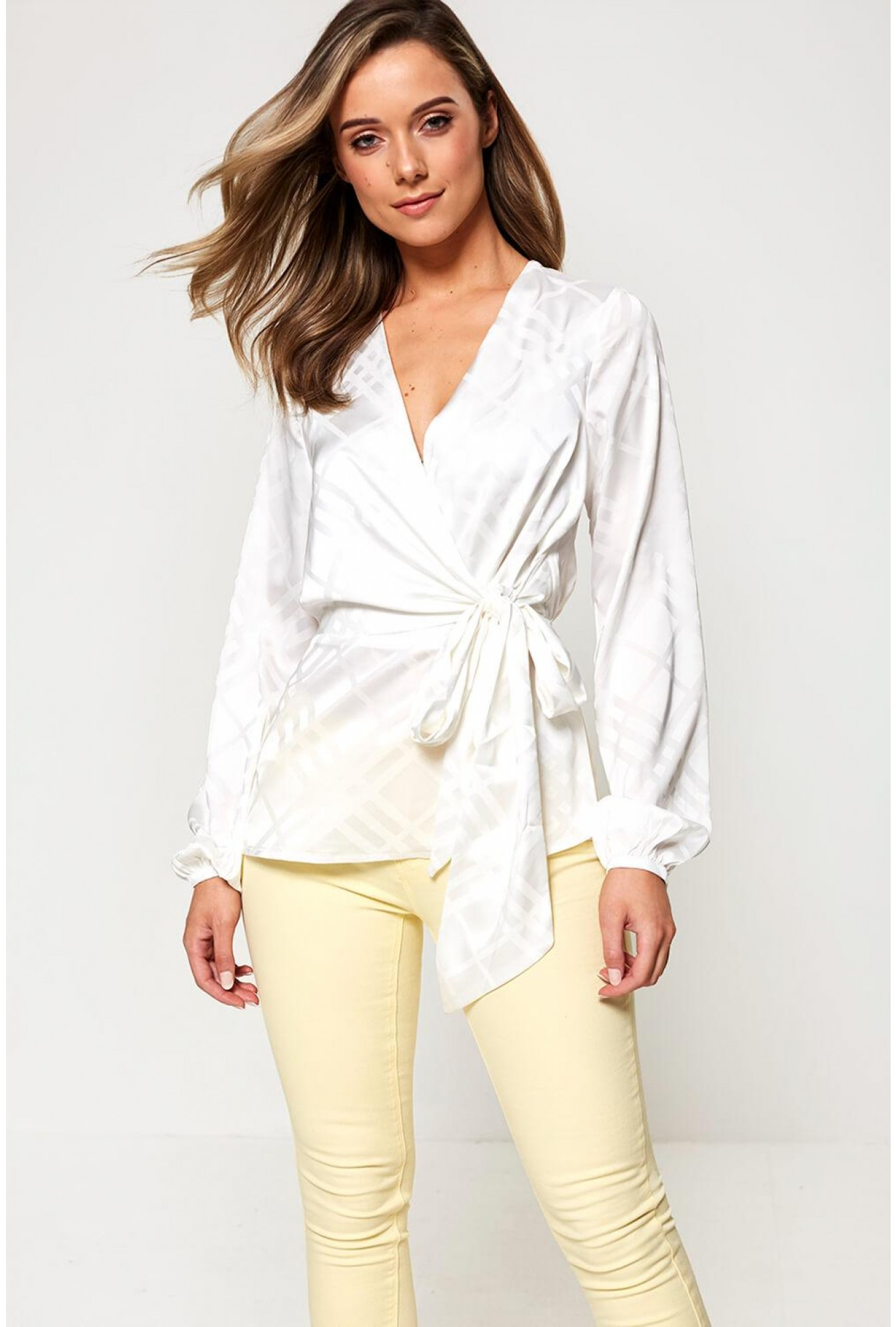 c49c6dd9aec9da More Views. Long Sleeve Wrap Front Blouse in Off White