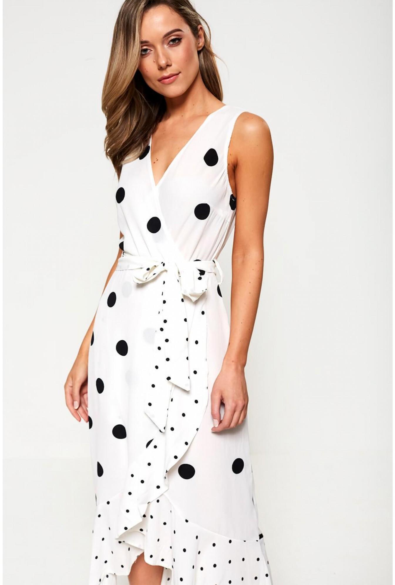 e6b376b475b More Views. Sleeveless Polka Dot Wrap Dress in White