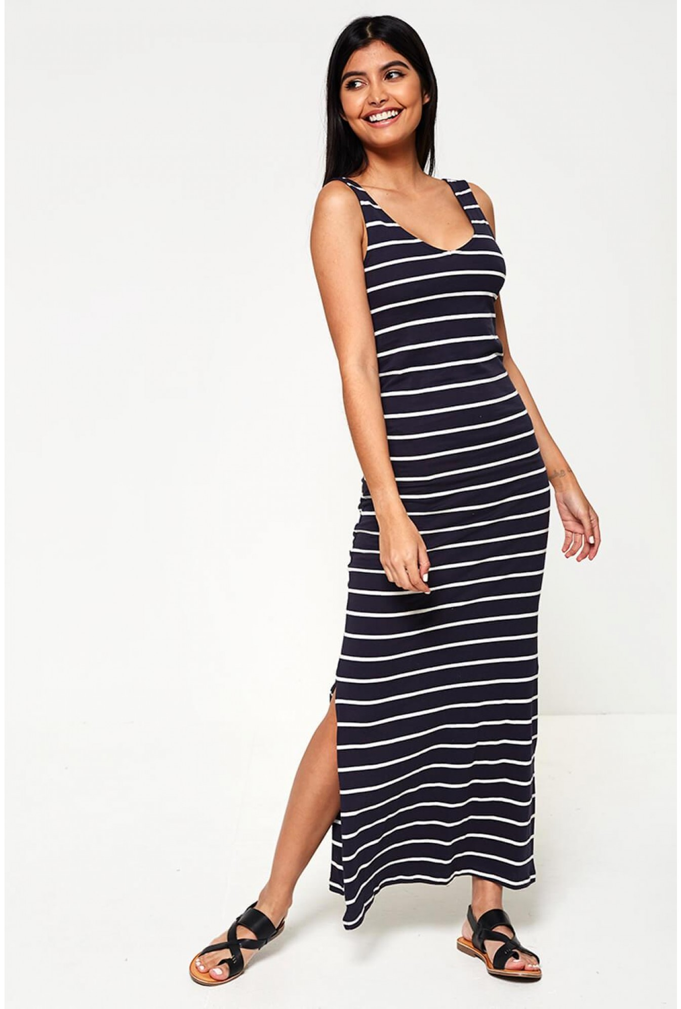 a0e1ac70e97 Only July Sleeveless Striped Jersey Maxi Dress in Navy | iCLOTHING