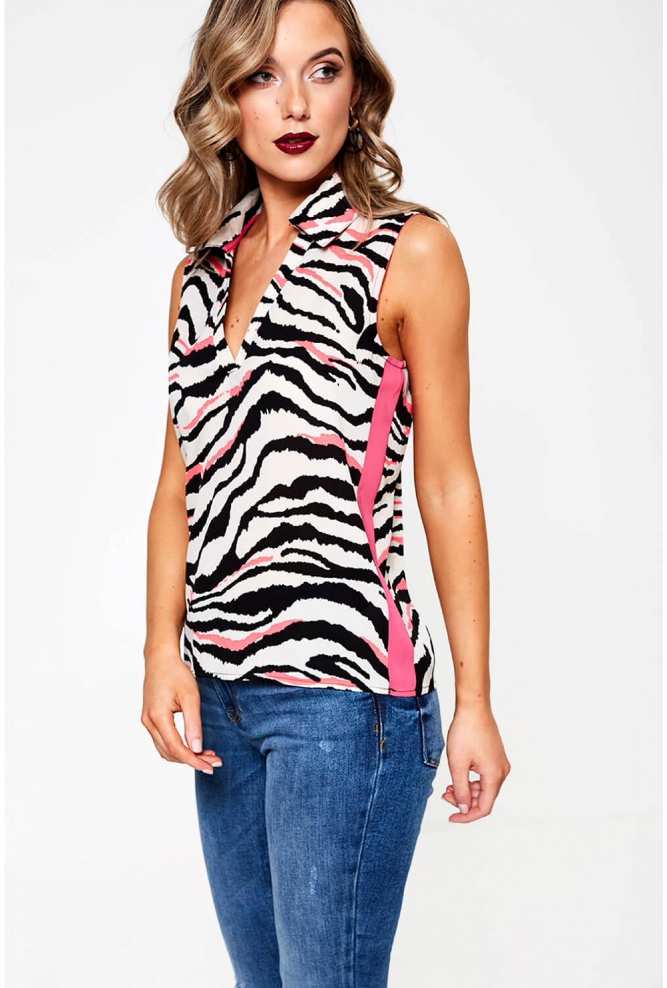 preview of low price sale new photos Elli White Stephanie Sleeveless Top in Pink Zebra Print | iCLOTHING