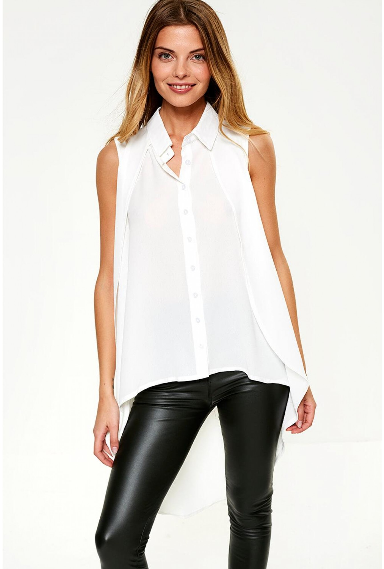 d1d10548f55be More Views. Zaniyah Sleeveless Top with Dip Hem in White