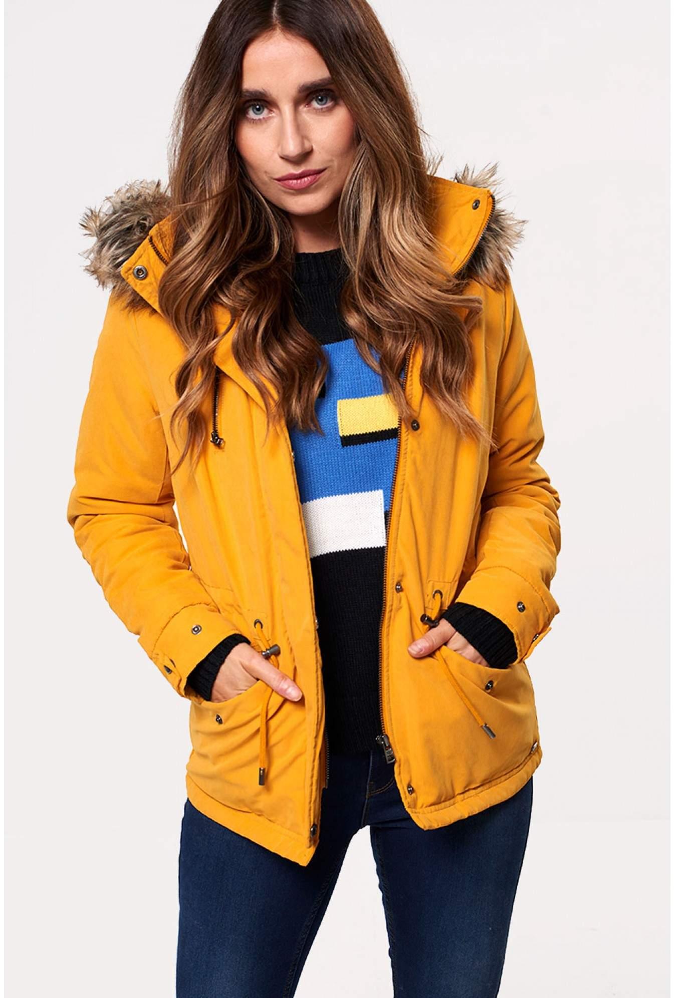 4f196c6358ee0 Only Starlight Short Fur Parka Jacket in Mustard