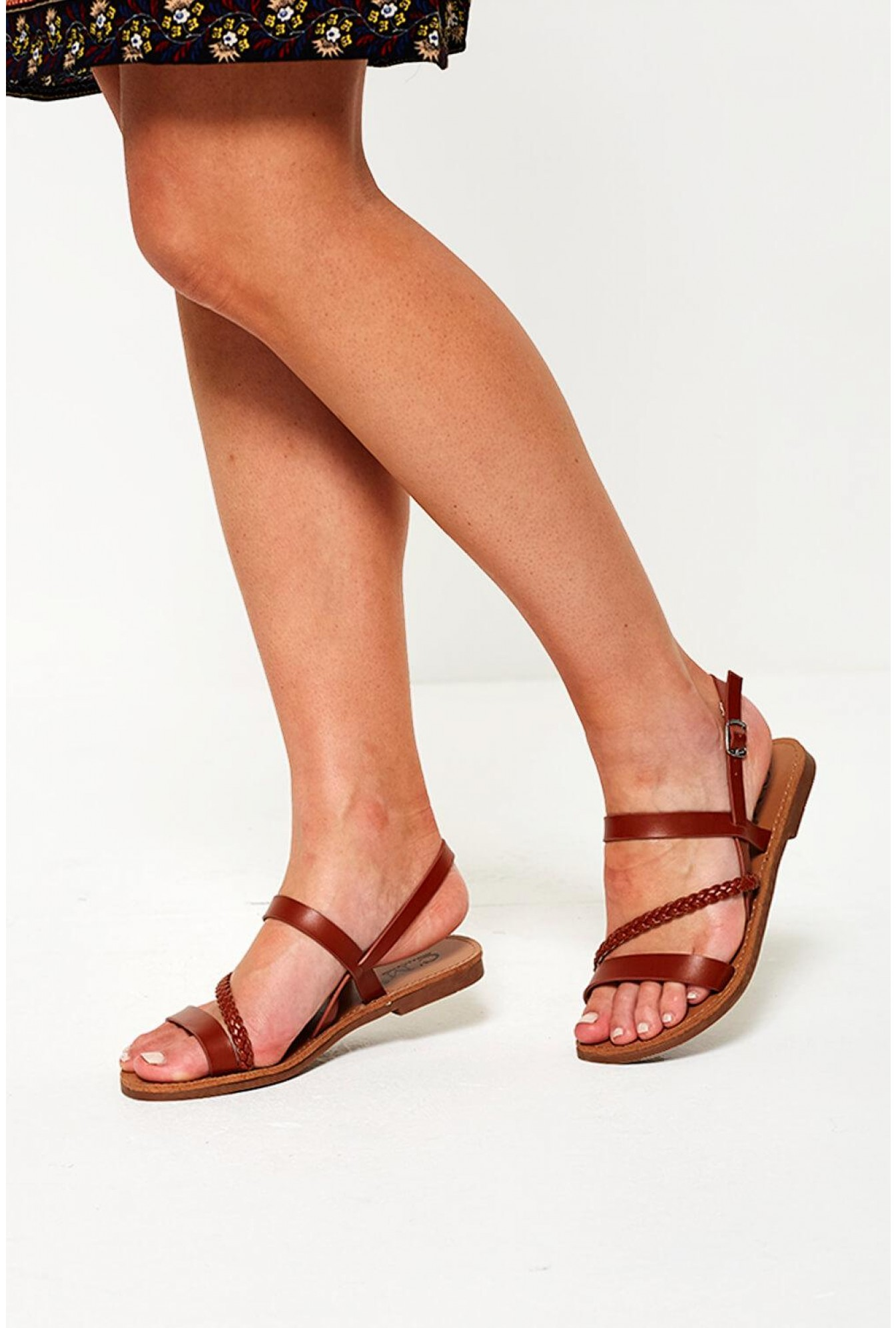 incredible prices fresh styles best wholesaler C'M Paris Macy Strappy Flat Sandals in Tan | iCLOTHING