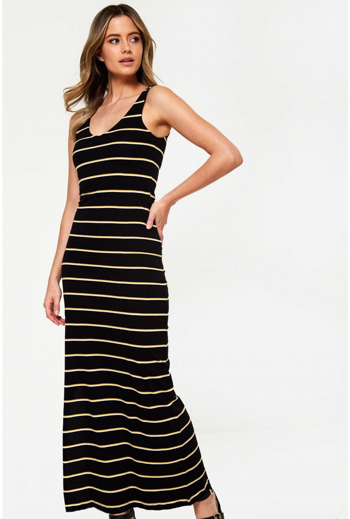 7d62a3c4aa1a2 Striped Bodycon Maxi Dress in Black