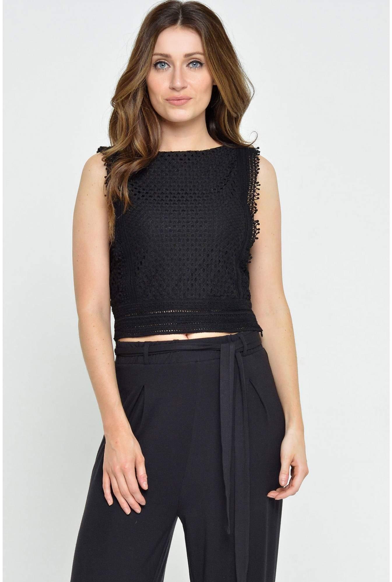 c5bbebededd Lacey Crochet Crop Top in Black