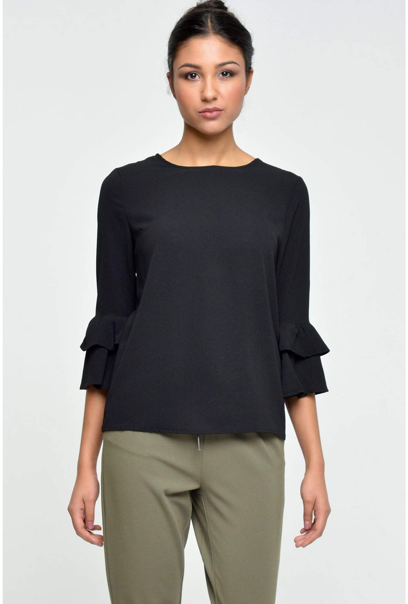 38bee444f3c78c More Views. Lorna Frill Sleeve Top in Black