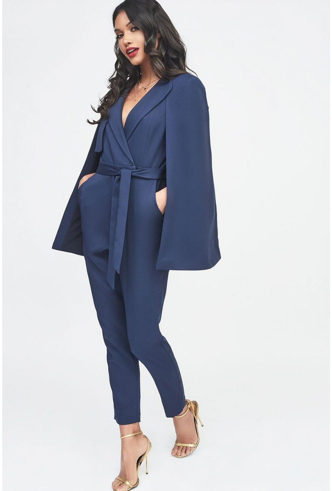 More Views. Lavish Alice Tailored Cape Jumpsuit in Navy. Soho Market 649b82c13