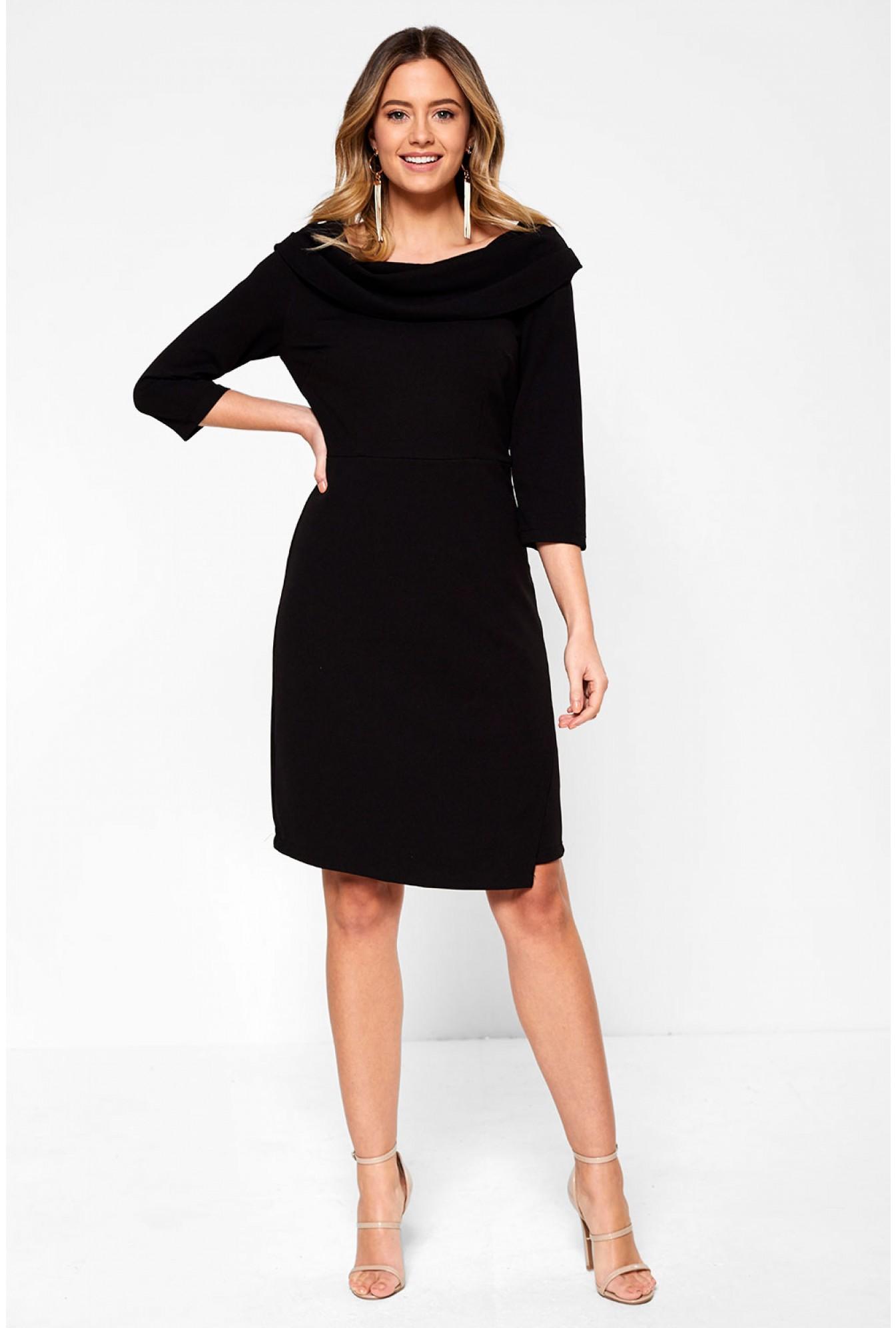 bd0de3b3b0f1 Marc Angelo Judy Tailored Midi Dress with Cowl Neckline in Black ...
