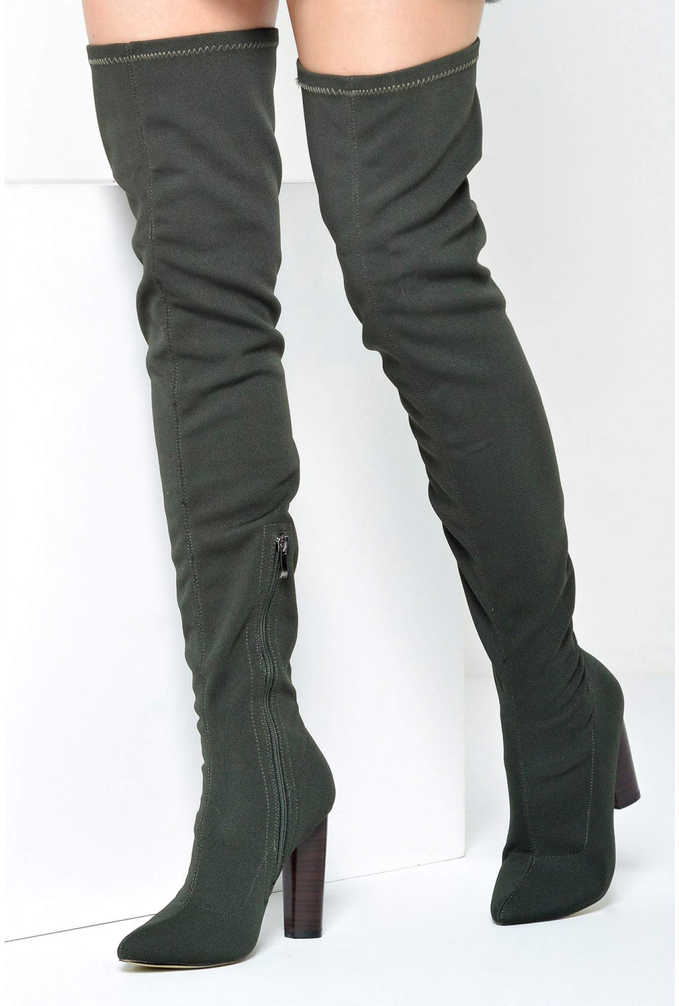 5c0afd29840 More Views. Cathy Woven Over The Knee Boots in Khaki
