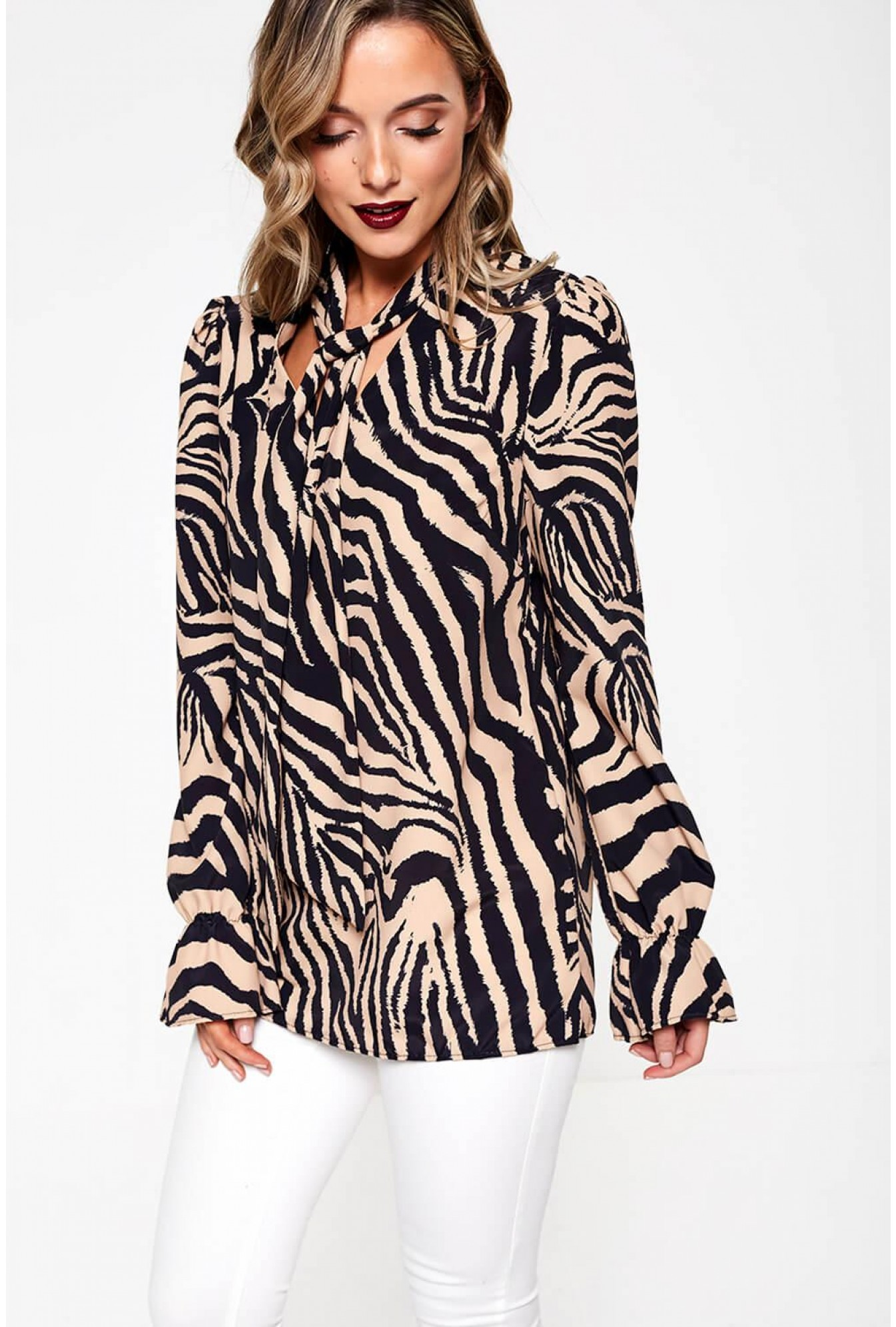 new arrival new release coupon code Peyton Tie Neck Blouse in Brown Zebra Print