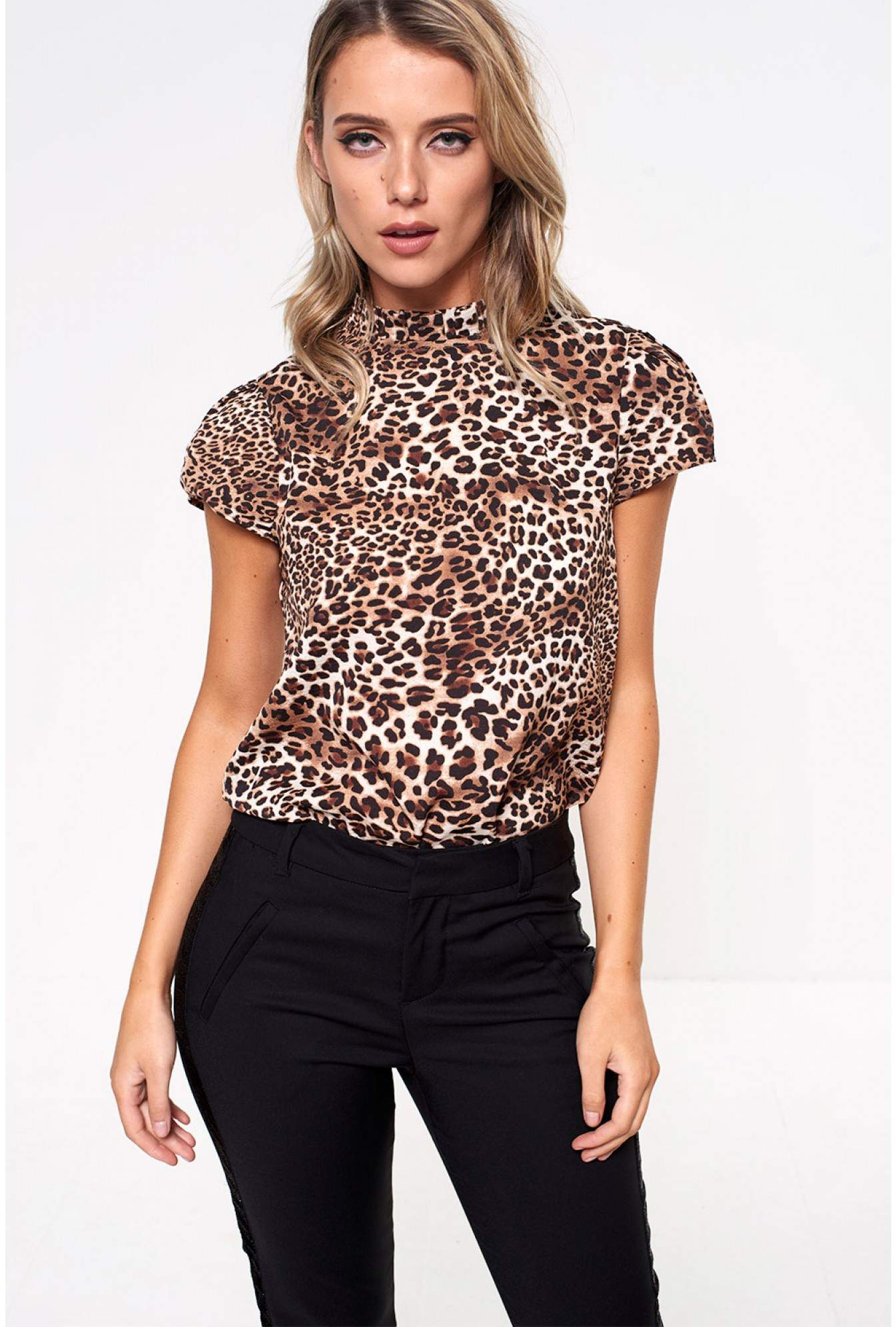 43a9edb3c63b4e Marc Angelo Millie Top with Frill Neck in Brown Animal Print | iCLOTHING