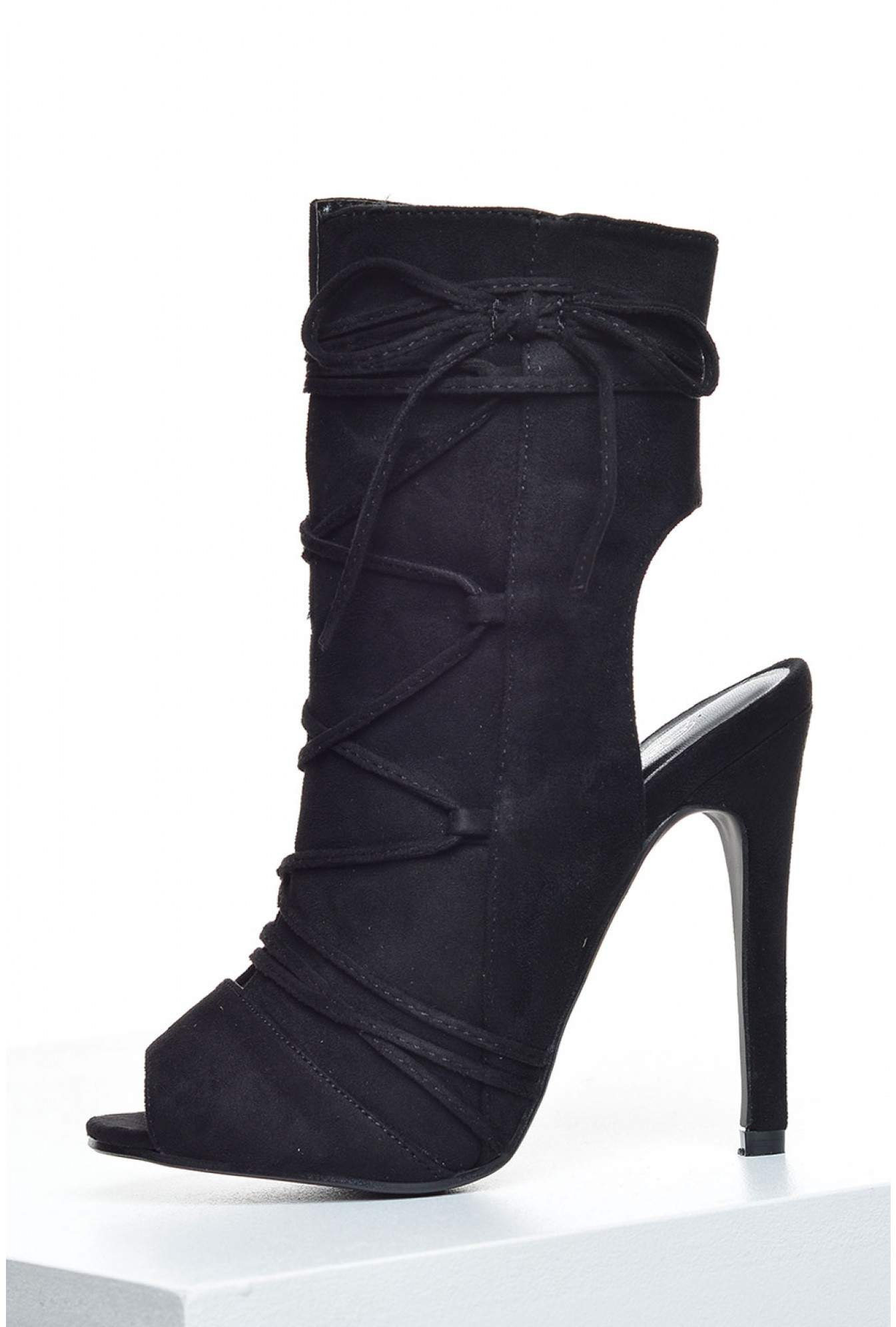 18d3c34b24f More Views. Fatima Peep Toe Ankle Boots in Black Suede
