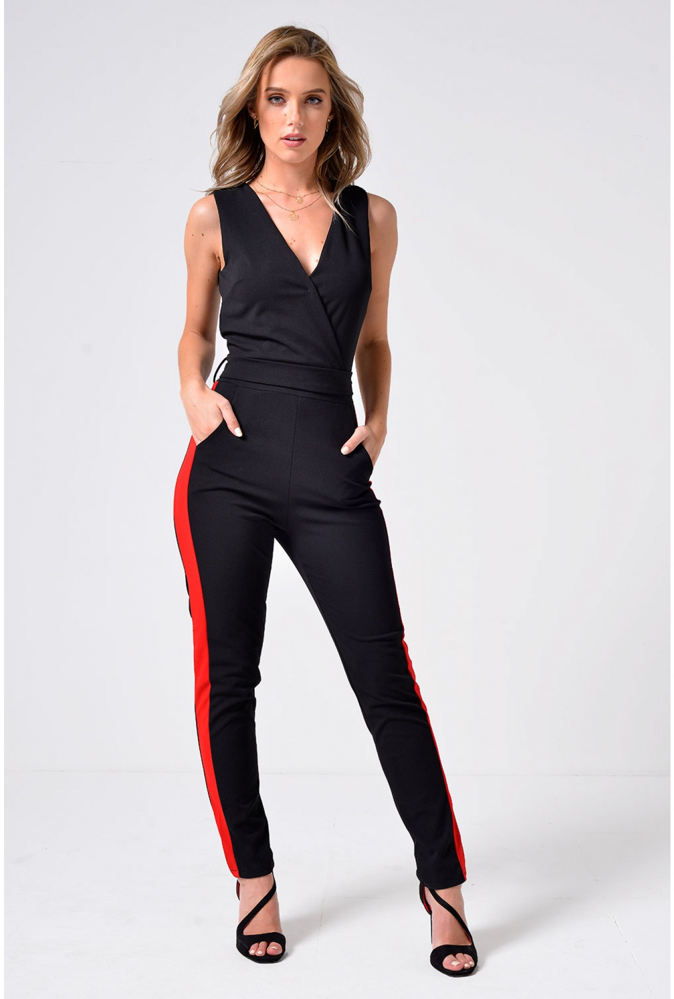 a951260c9dc3 Wal G Sienna Side Stripe Plunge Jumpsuit in Black