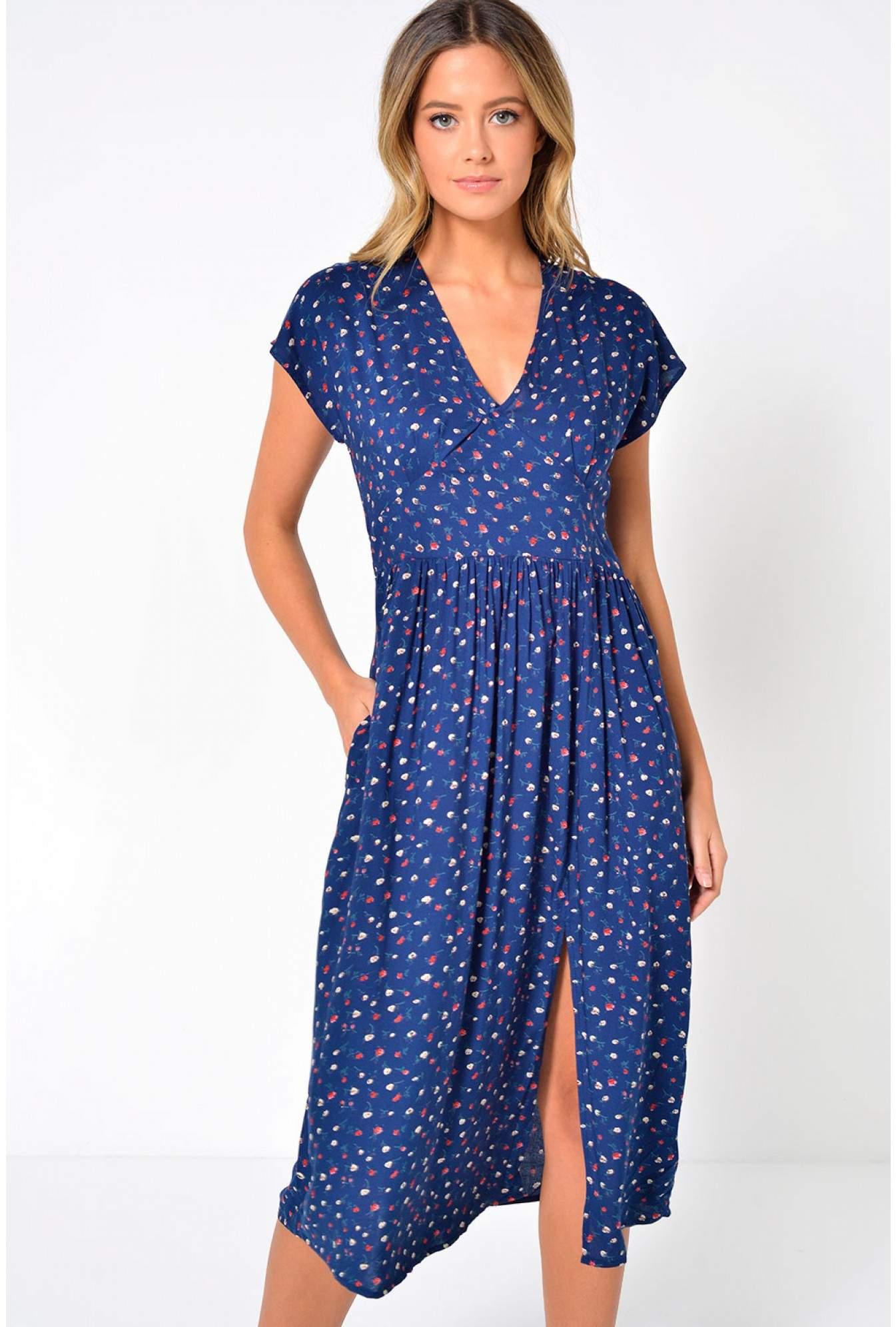 75e6899c5 Louche Unity Rosebudy Dress in Navy | iCLOTHING