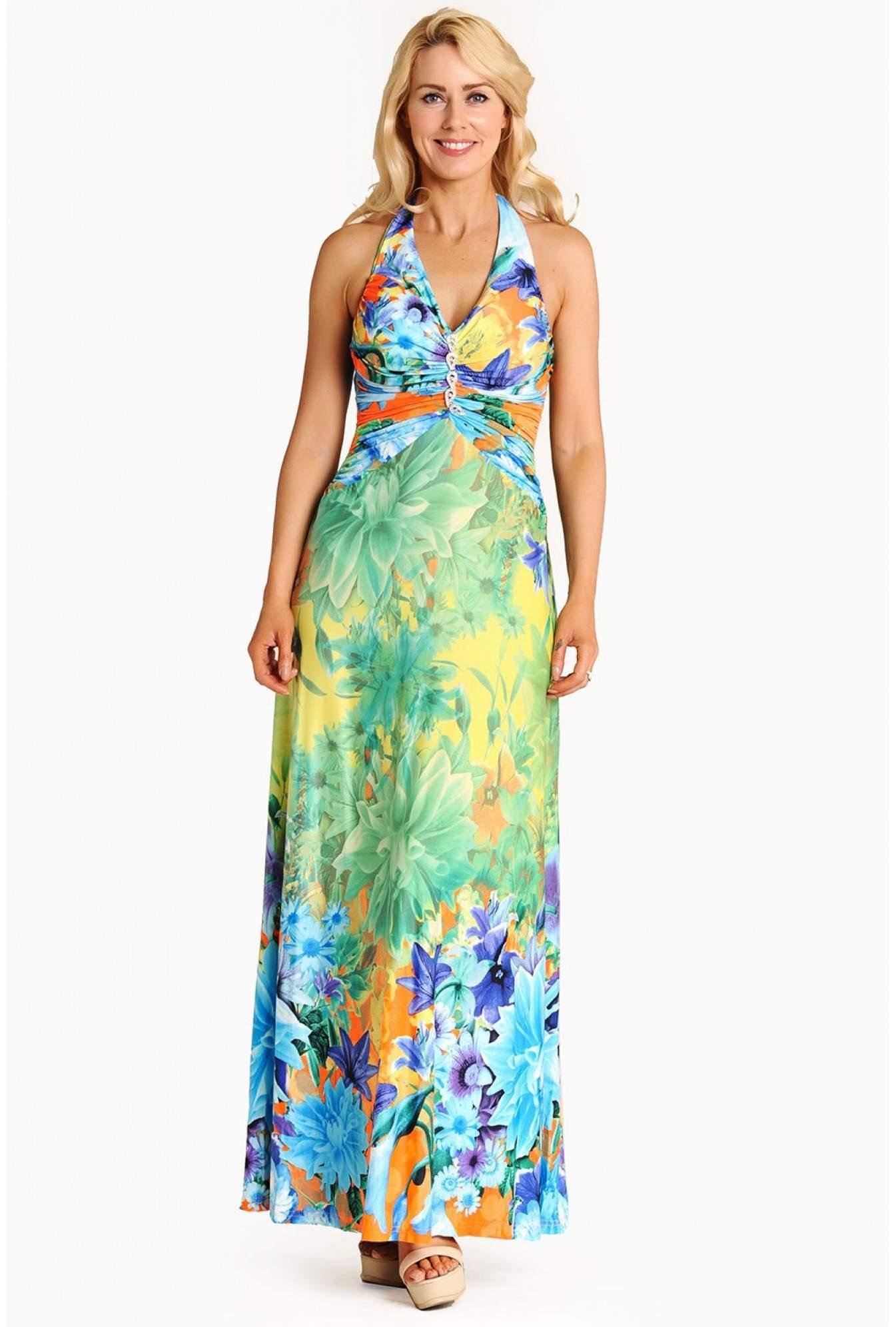 eb2b70f5396 More Views. Felicia Floral Halter Neck Maxi Dress in Multi Blue