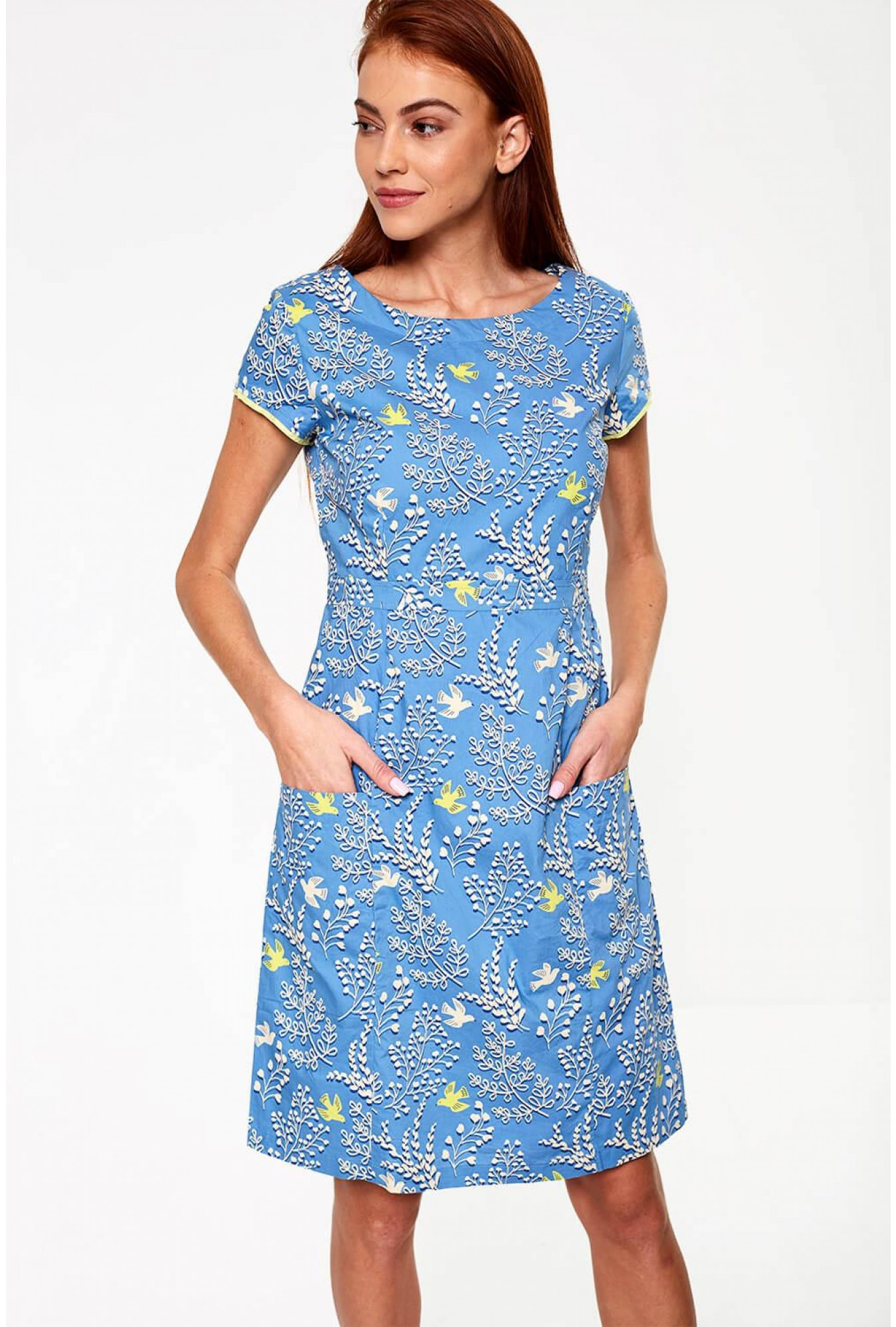 b9380b617c7c77 Lily & Me Harbourside Dove Print Dress in Blue | iCLOTHING