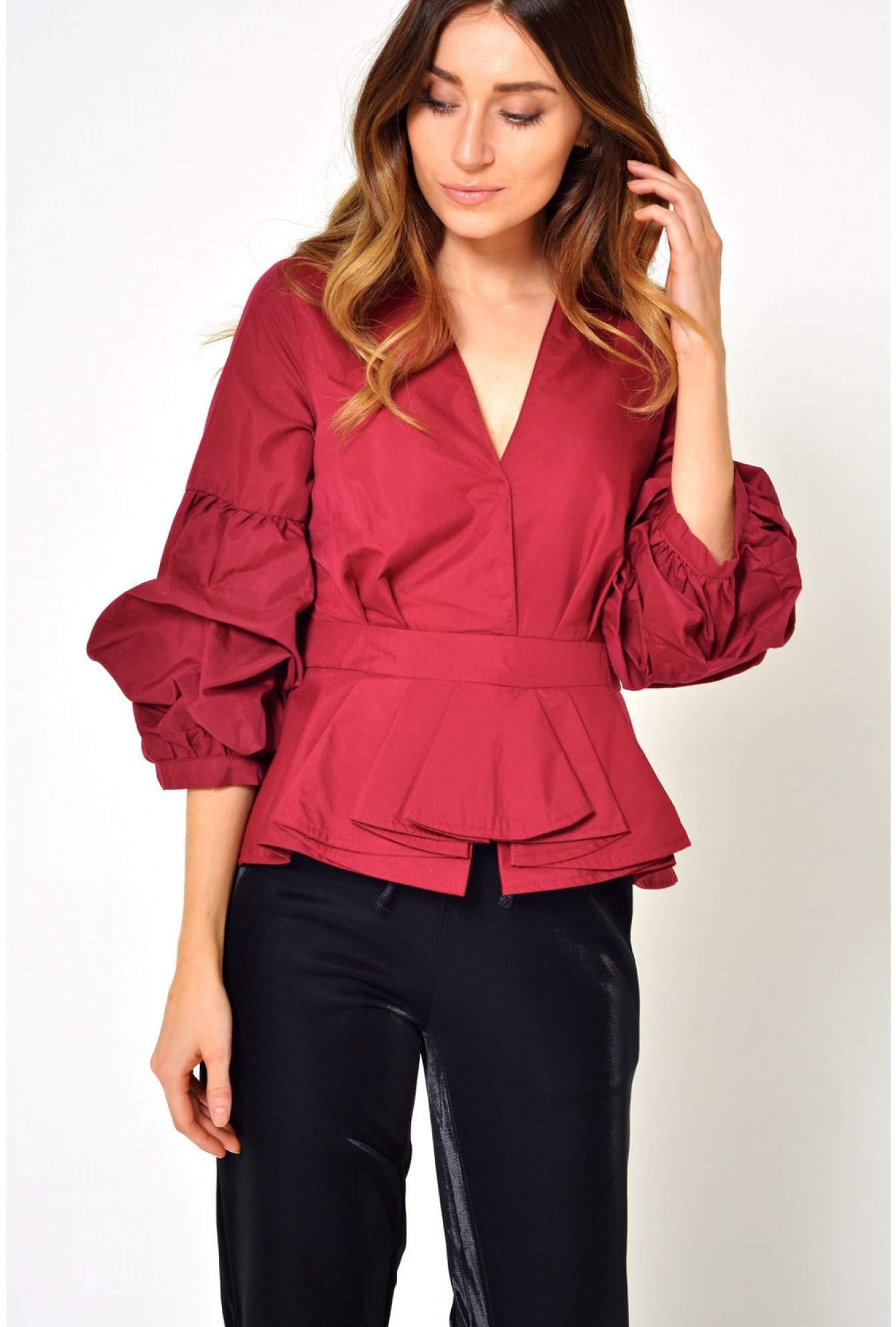 bca01a1a82355c Lucy Wang Lizzy Puff Sleeve Peplum Shirt in Wine