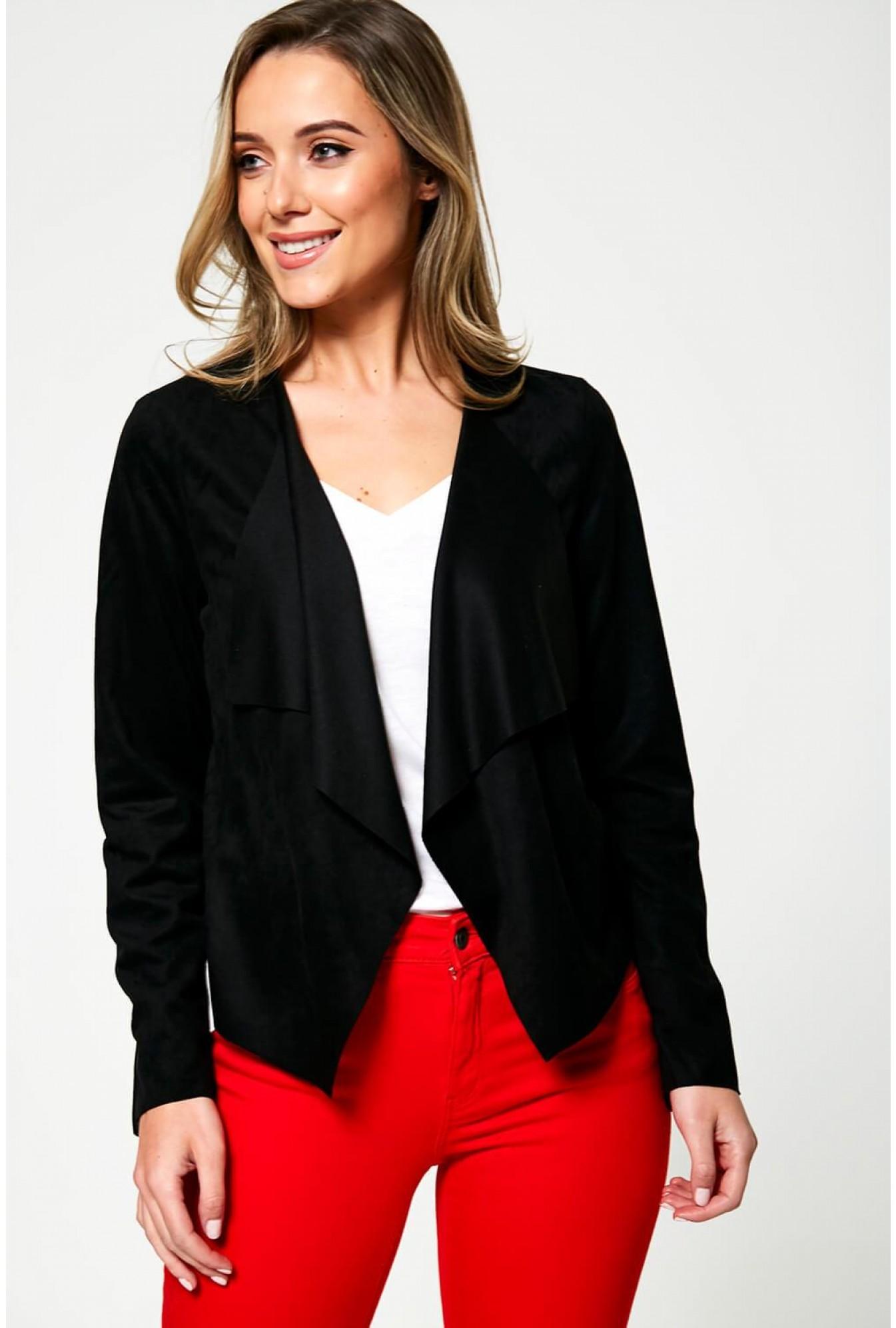 8844e1697 Judy Suede Waterfall Jacket in Black