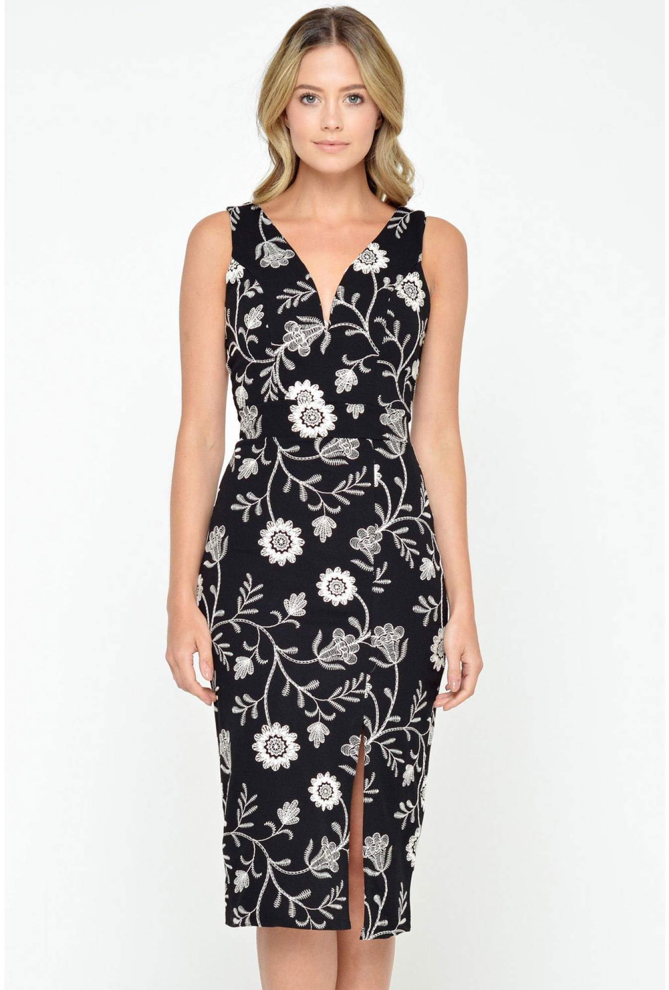 17c1cffcfb More Views. Janette Embroidered Plunge Neck Dress in Black