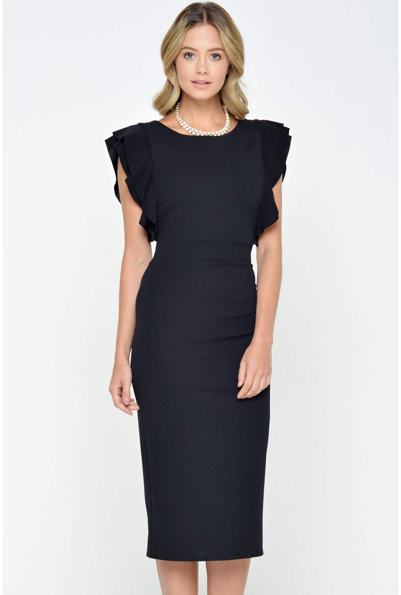 ad48e0aabec Wal G Nell Frilled Sleeve Midi Dress in Black | iCLOTHING