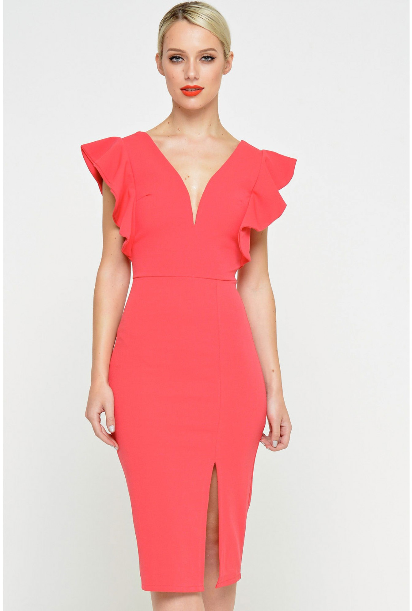 4cfd40d4b92d Wal G Diana Plunge Neck Midi Dress in Coral | iCLOTHING