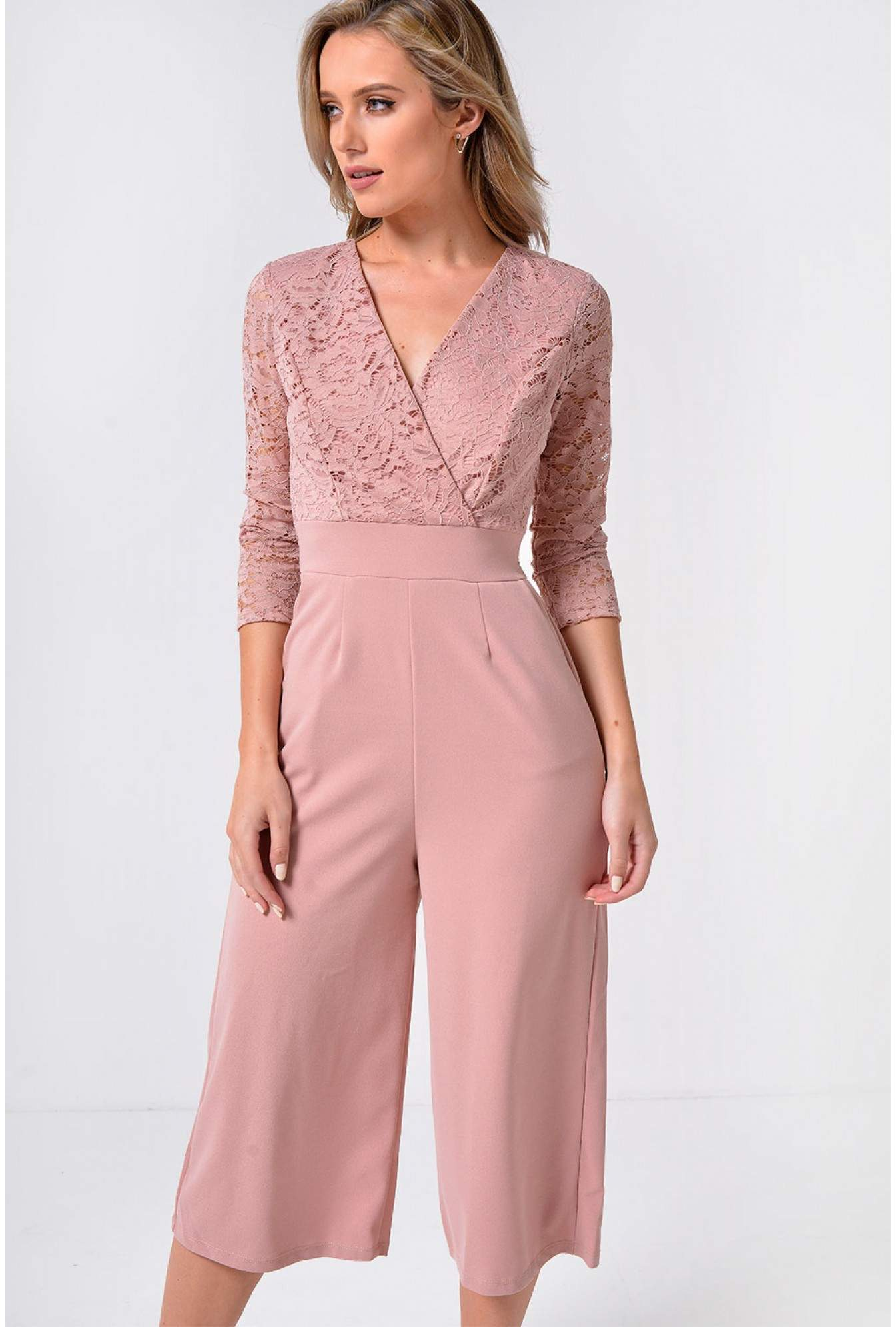 4ab61ef4fc47d Wal G Madrid Plunge Culotte Jumpsuit with Lace Detail in Blush ...