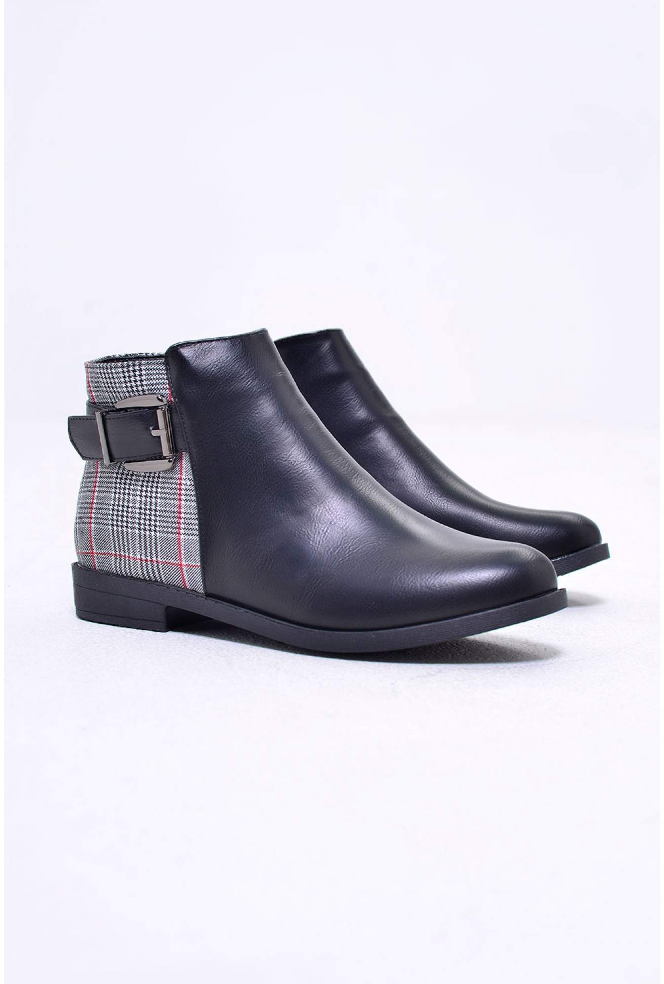 51fd084d6ea8 No Doubt Sarah Ankle Boots in Black With Contrast Check Panel ...