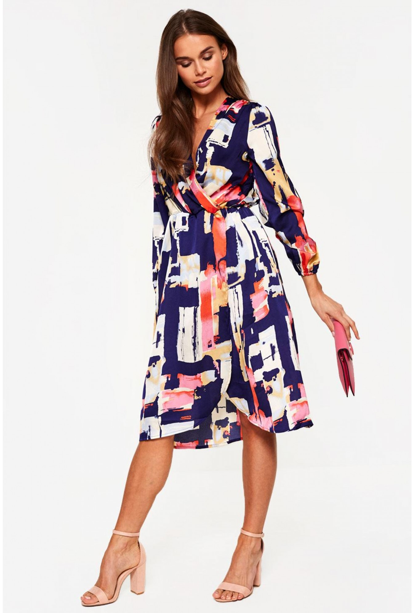 33fe820daca1 More Views. Long Sleeve Wrap Dress in Navy Abstract Print. Video Gallery. Marc  Angelo