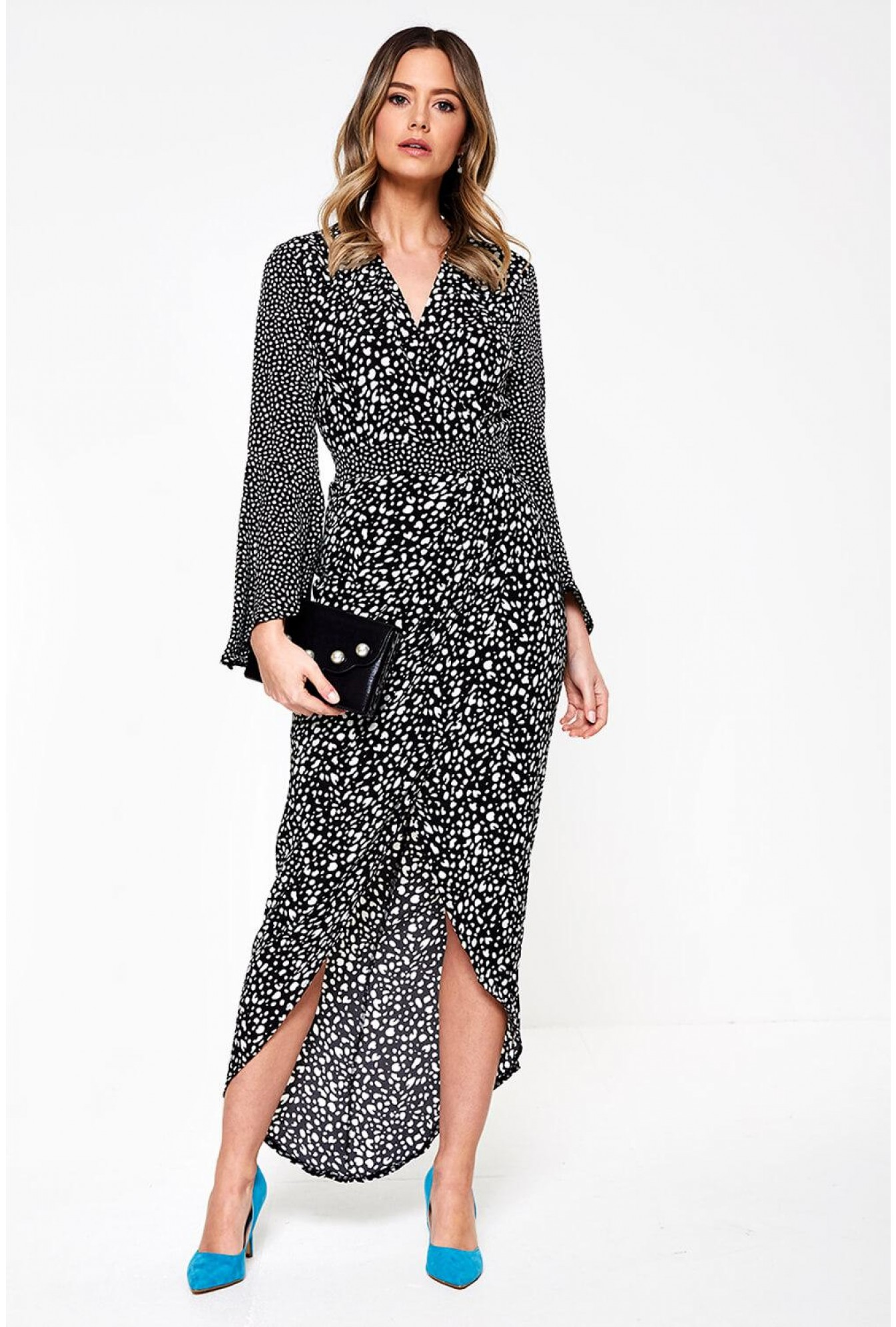 7e84cce5614 Indie Wrap Flute Sleeve Maxi Dress in Black Dot Print