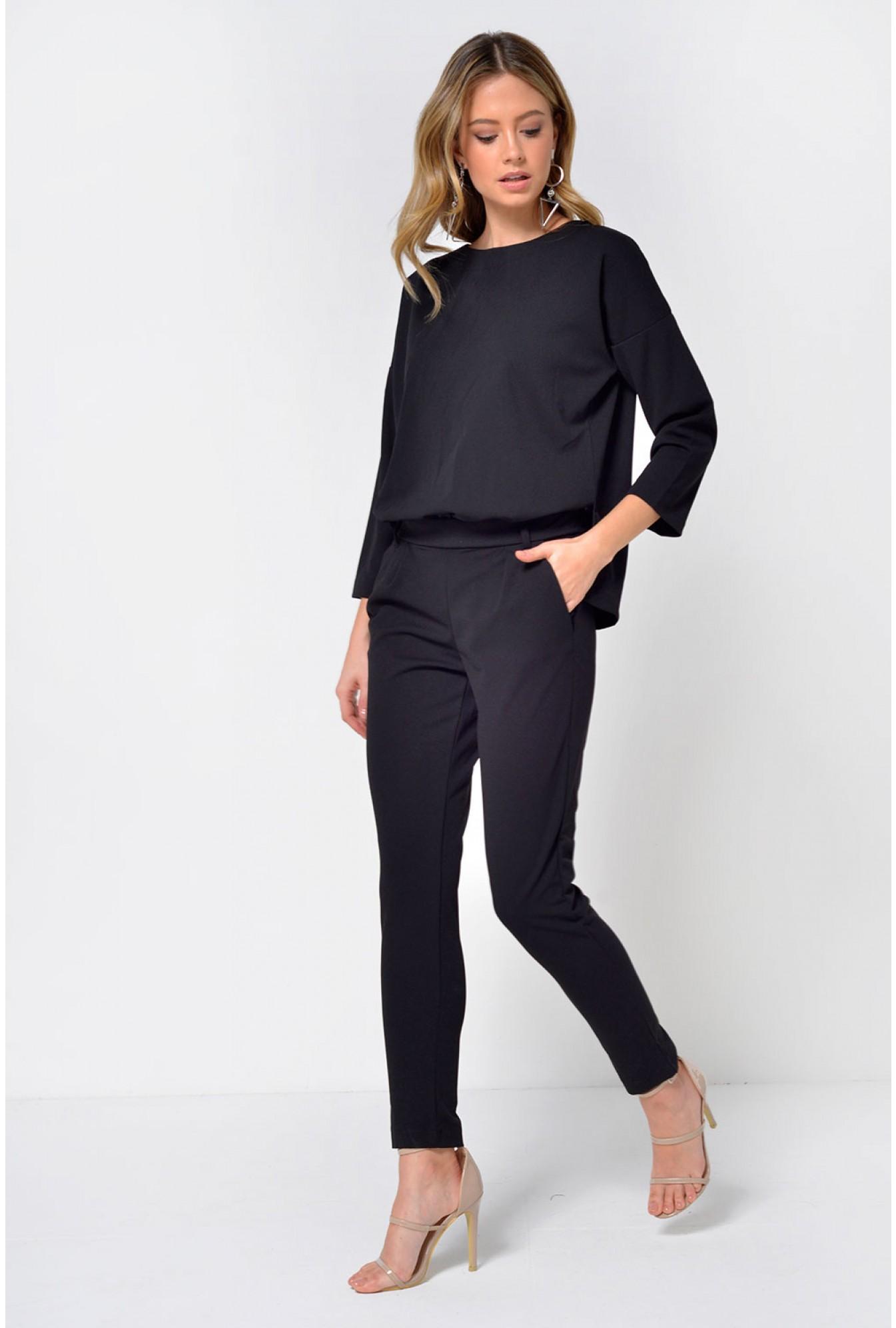 2e1b85d3942 Jacqueline De Yong Laurette Relaxed 3 4 Sleeve Jumpsuit