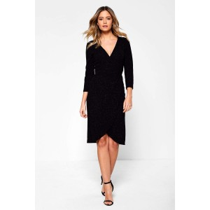 2a8666f8300 Jacqueline De Yong Carol Glitter Wrap Dress in Black