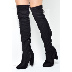 a5b6590151d No Doubt Petal Over the Knee Boots in Black Suede