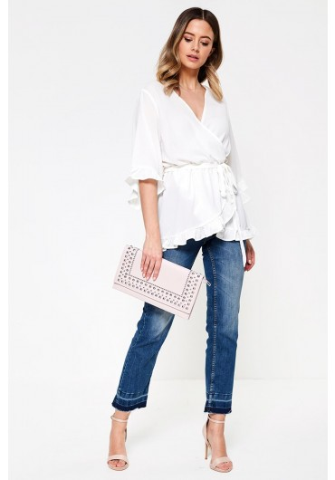 f6995adbe85024 Kotaro Wrap Top with Frill Detail in Off White ...