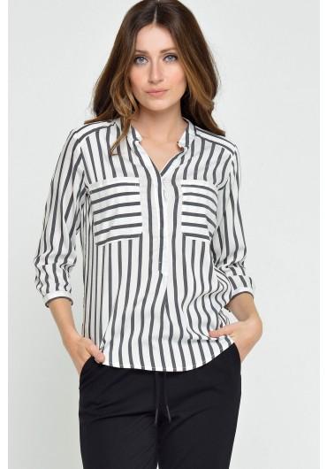 05372ad8b3325d ... Merika Stripe 3/4 Shirt in Black
