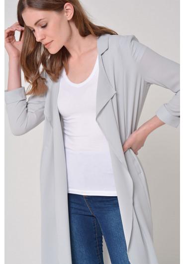 97a0f4c5243 Libi Loose Long Blazer in Light Grey ...