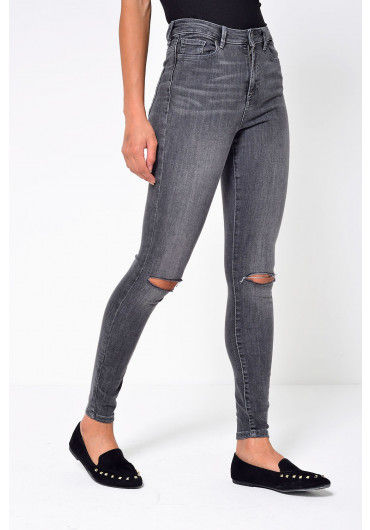50dd827c42d5c ... Sophia Short High Waist Ripped Skinny Jean in Grey